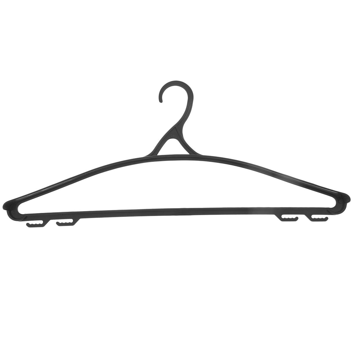 Вешалка для одежды М-пластика, цвет: черный, размер 50-52М 2210Универсальная вешалка для одежды М-пластика выполнена из легкого пластика. Изделие оснащено перекладиной и четырьмя крючками. Вешалка - это незаменимая вещь для того, чтобы ваша одежда всегда оставалась в хорошем состоянии. Размер одежды: 50-52.
