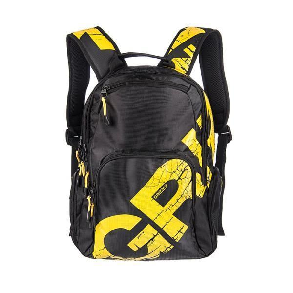 Рюкзак городской Grizzly, цвет: черный, желтый. RU-423-1/5RU-423-1/5Рюкзак Grizzly изготовлен из нейлона черного цвета и оформлен яркой цветной надписью. Рюкзак имеет два отделения, закрывающиеся на отдельные застежки-молнии. В первом отделении содержится вшитый карман на молнии. Рюкзак также имеет 2 боковых кармана на молнии. На передней стенке предусмотрен маленький карман на молнии, а также отделение на молнии с открытым кармашком и 3 узкими кармашками для пишущих принадлежностей. Рюкзак оснащен жесткой спинкой с мягкими вставками, двумя широкими мягкими лямками регулируемой длины и удобной короткой ручкой. Фурнитура изготовлена из металла черного цвета. Бегунки снабжены удобными держателями. Внутренняя поверхность отделана цветным полиэстером.