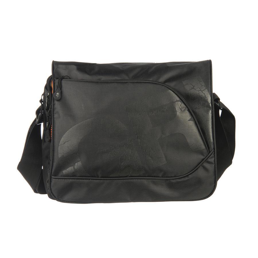 Grizzly MM-423-2 Сумка молодежная 4 черныйММ-423-2/4Молодежная сумка с клапаном, застегивающимся на липучки, с двумя отделениями, застегивающимися на молнии. На сумке имеются множество карманов, на клапане, на передней и задней стенках и внутри сумки. Имеется регулируемый ремень и ручка для переноски.