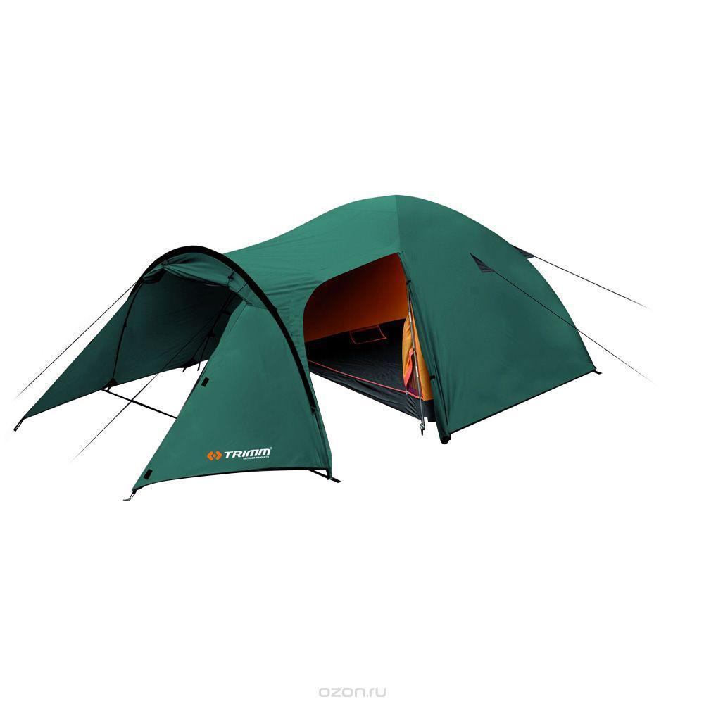 Палатка трехместная Trimm EAGLE 3, цвет: зеленыйR36951Палатка Trimm EAGLE – среднего размера туристическая палатка серии Outdoor, с внешним тентом зеленого цвета. Прекрасный выбор для походов, рыбалки и прочих видов активного отдыха в не зимние сезоны. Палатка EAGLE от чешского производителя Trimm относится к бюджетной серии Outdoor. Отличительная черта данной модели – трехстержневой каркас, благодаря которому она устойчива к порывам ветра, а также наличие большого тамбура, где можно сложить походные рюкзаки и другие вещи. Внутри палатки с комфортом разместятся 3 человека; при желании можно уместиться и вчетвером, но будет тесновато.