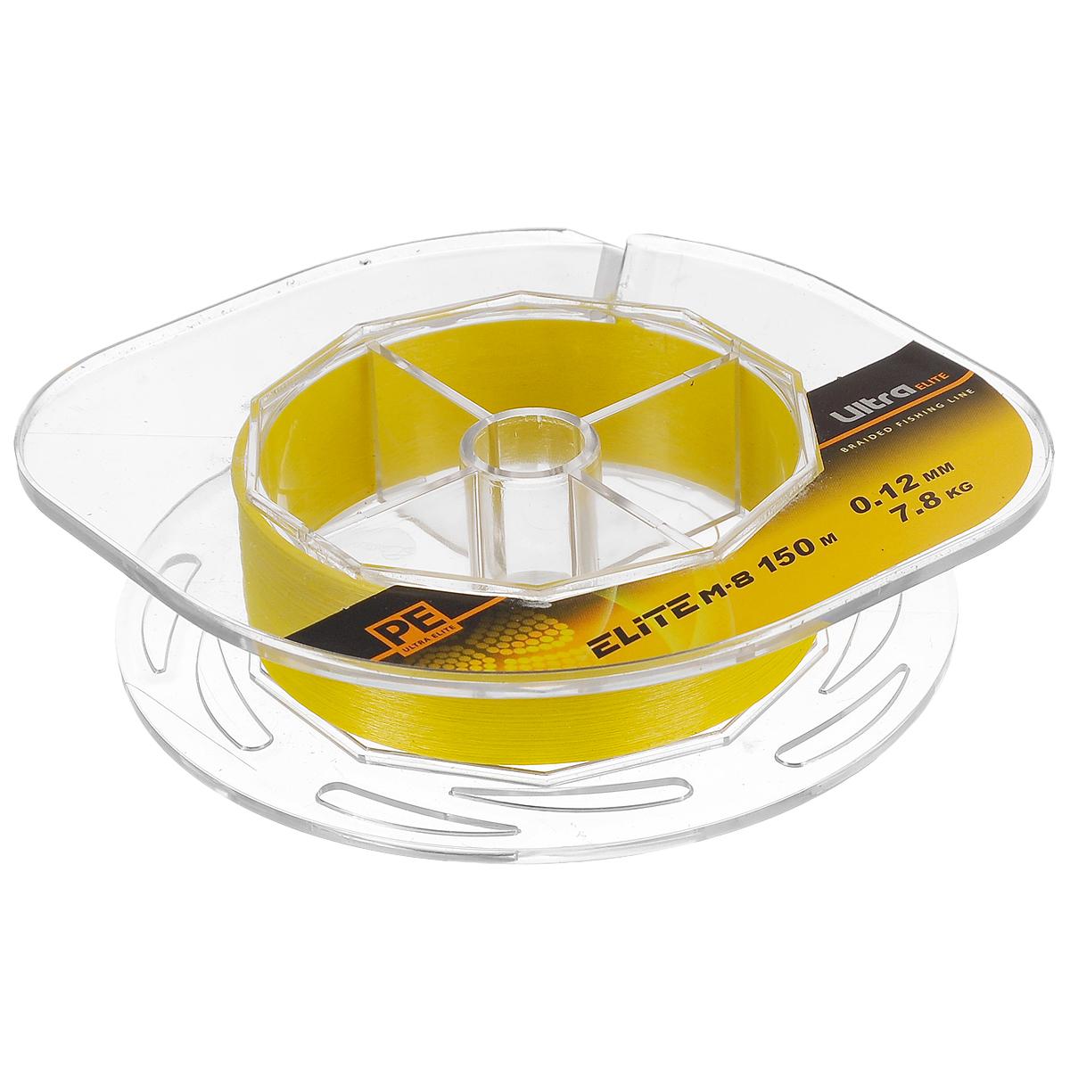 Шнур плетеный Aqua PE Ultra Elite M-8, цвет: желтый, сечение 0,12 мм, длина 150 м10-21-12-YПлетеный шнур Aqua PE Ultra Elite M-8 для спортивной рыбалки изготовлен из 100% материала UHMW PE (ультра-высокомолекулярный пространственно-ориентированный полиэтилен). Идеально круглый шнур из восьми нитей отлично подойдет для самых требовательных рыболовов, не готовых идти ни на какие компромиссы в вопросах выбора снастей. Primary Fiber - первичное волокно диаметром 0,85 микрона. Особенности шнура: Basic Stand - основная нить, состоящая из 30-160 первичных волокон. Braided Line - плетеный шнур, состоящий из 8 основных нитей. Deep Soldering Sea - запатентованная система пропитки и покраски с дополнительной защитой для морской воды. AACP (Anti-Abrasive Coated Protection) - финишное покрытие, защищающее шнур от любого нежелательного механического воздействия. Для привязывания приманки рекомендуется узел Palomar.