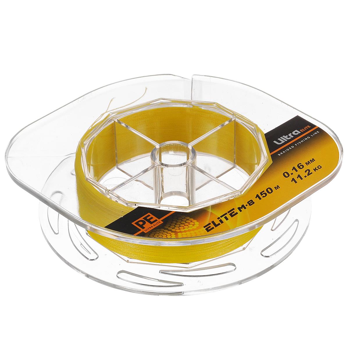 Шнур плетеный Aqua PE Ultra Elite M-8, цвет: желтый, сечение 0,16 мм, длина 150 м10-21-16-YПлетеный шнур Aqua PE Ultra Elite M-8 для спортивной рыбалки изготовлен из 100% материала UHMW PE (ультра-высокомолекулярный пространственно-ориентированный полиэтилен). Идеально круглый шнур из восьми нитей отлично подойдет для самых требовательных рыболовов, не готовых идти ни на какие компромиссы в вопросах выбора снастей. Primary Fiber - первичное волокно диаметром 0,85 микрона. Особенности шнура: Basic Stand - основная нить, состоящая из 30-160 первичных волокон. Braided Line - плетеный шнур, состоящий из 8 основных нитей. Deep Soldering Sea - запатентованная система пропитки и покраски с дополнительной защитой для морской воды. AACP (Anti-Abrasive Coated Protection) - финишное покрытие, защищающее шнур от любого нежелательного механического воздействия. Для привязывания приманки рекомендуется узел Palomar.