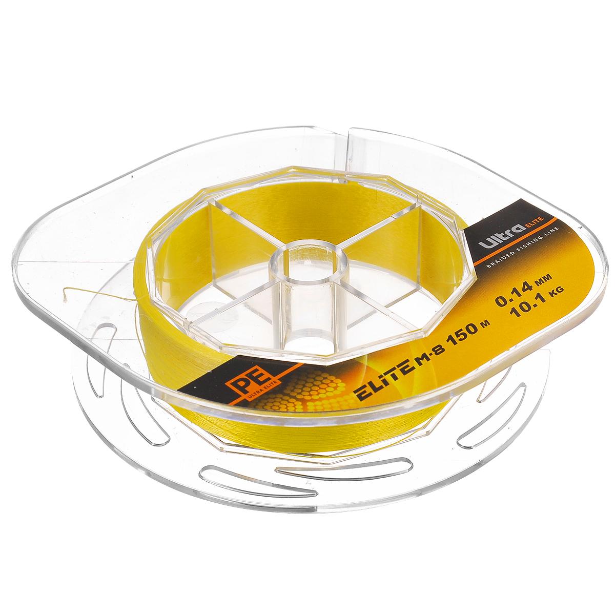 Шнур плетеный Aqua PE Ultra Elite M-8, цвет: желтый, сечение 0,14 мм, длина 150 м10-21-14-YПлетеный шнур Aqua PE Ultra Elite M-8 для спортивной рыбалки изготовлен из 100% материала UHMW PE (ультра-высокомолекулярный пространственно-ориентированный полиэтилен). Идеально круглый шнур из восьми нитей отлично подойдет для самых требовательных рыболовов, не готовых идти ни на какие компромиссы в вопросах выбора снастей. Primary Fiber - первичное волокно диаметром 0,85 микрона. Особенности шнура: Basic Stand - основная нить, состоящая из 30-160 первичных волокон. Braided Line - плетеный шнур, состоящий из 8 основных нитей. Deep Soldering Sea - запатентованная система пропитки и покраски с дополнительной защитой для морской воды. AACP (Anti-Abrasive Coated Protection) - финишное покрытие, защищающее шнур от любого нежелательного механического воздействия. Для привязывания приманки рекомендуется узел Palomar.
