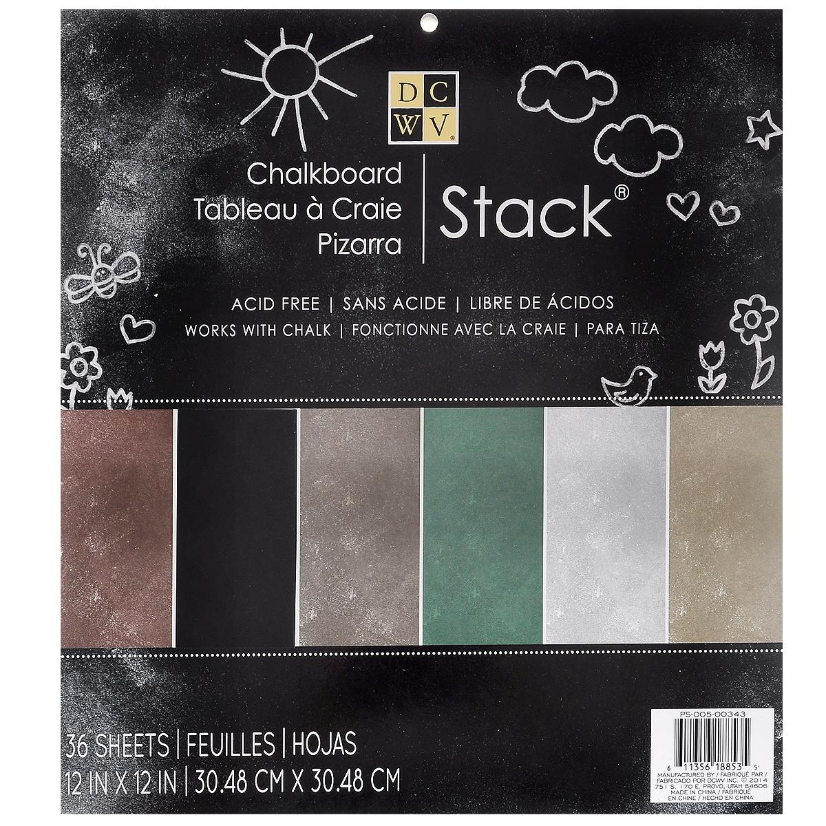 Набор бумаги для скрапбукинга Chalkboard Stack, 36 листовPS-005-00343Набор матовой бумаги Chalkboard Stack позволит создавать всевозможные аппликации и поделки. Набор включает бумагу следующих цветов: черный, коричневый, темно-коричневый, зеленый, серый и болотный. Создание поделок из цветной бумаги поможет ребенку развить творческие способности, кроме того, это увлекательный досуг для детей и взрослых. Скрапбукинг - это хобби, которое способно приносить массу приятных эмоций не только человеку, который занимается скрапбукингом, но и его близким, друзьям, родным. Это невероятно увлекательное занятие, которое поможет вам сохранить наиболее памятные и яркие моменты вашей жизни для вас и даже ваших потомков. В набор входит 16 листов из плотного кардстока с двухсторонней печатью. Размер листа: 30,4 см х 30,4 см.