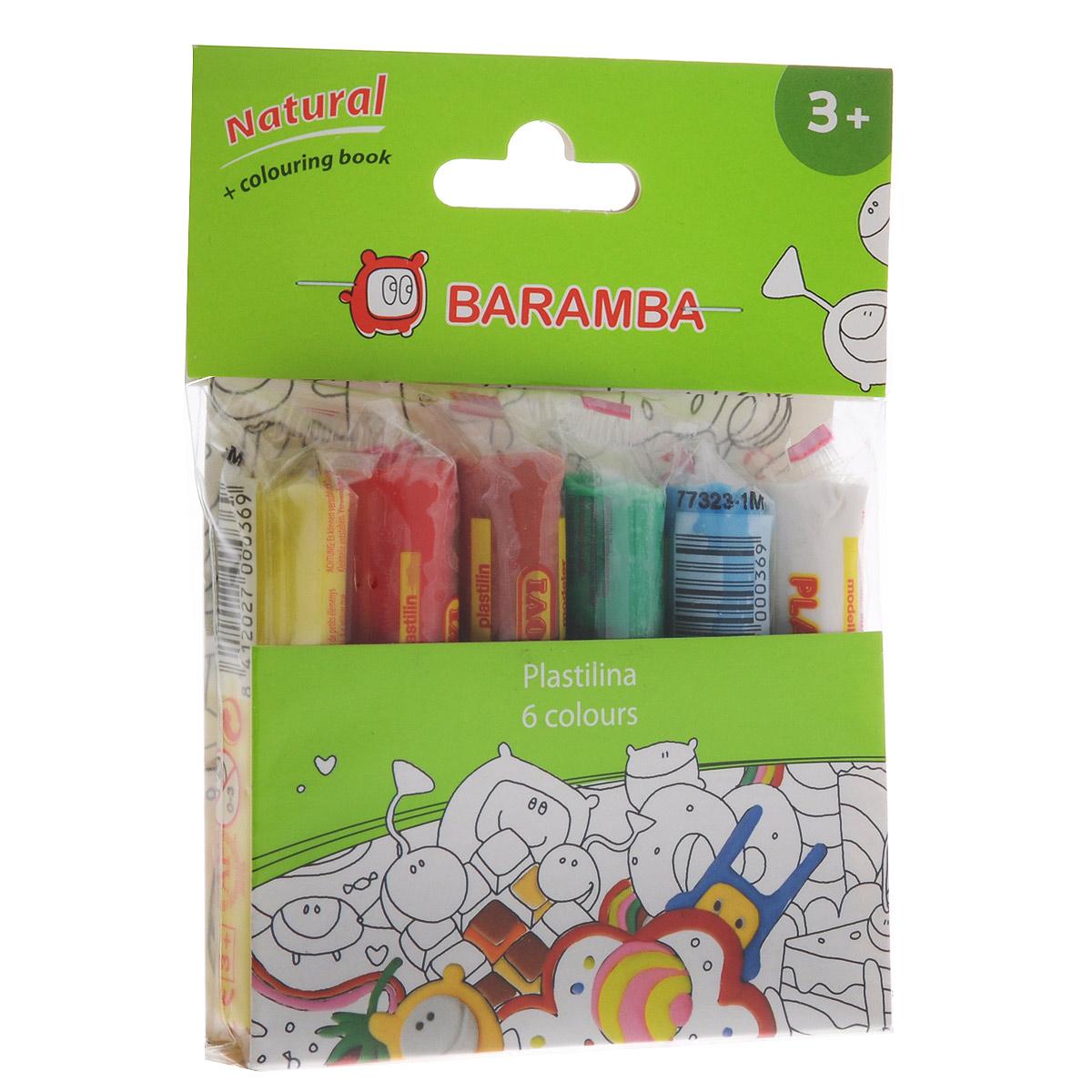 Пластилин Baramba, 6 цветов, с раскраскойB26006Пластилин Baramba с раскраской - это отличная возможность познакомить ребенка с еще одним из видов изобразительного творчества, в котором создаются объемные образы и целые композиции. В набор входит пластилин 6 ярких цветов (белый, голубой, зеленый, коричневый, красный, желтый). Цвета пластилина легко смешиваются между собой, и таким образом можно получить новые оттенки. Пластилин на растительной основе, очень мягкий, содержит натуральные масла и воск, легко смешивается друг с другом и не липнет к рукам. Техника лепки богата и разнообразна, но при этом доступна даже маленьким детям. В комплект также входит раскраска с изображением, которое малыш сможет раскрасить с помощью пластилина. Занятие лепкой не только увлекательно, но и полезно для ребенка. Оно способствует развитию творческого и пространственного мышления, восприятия формы, фактуры, цвета и веса, развивает воображение и мелкую моторику.