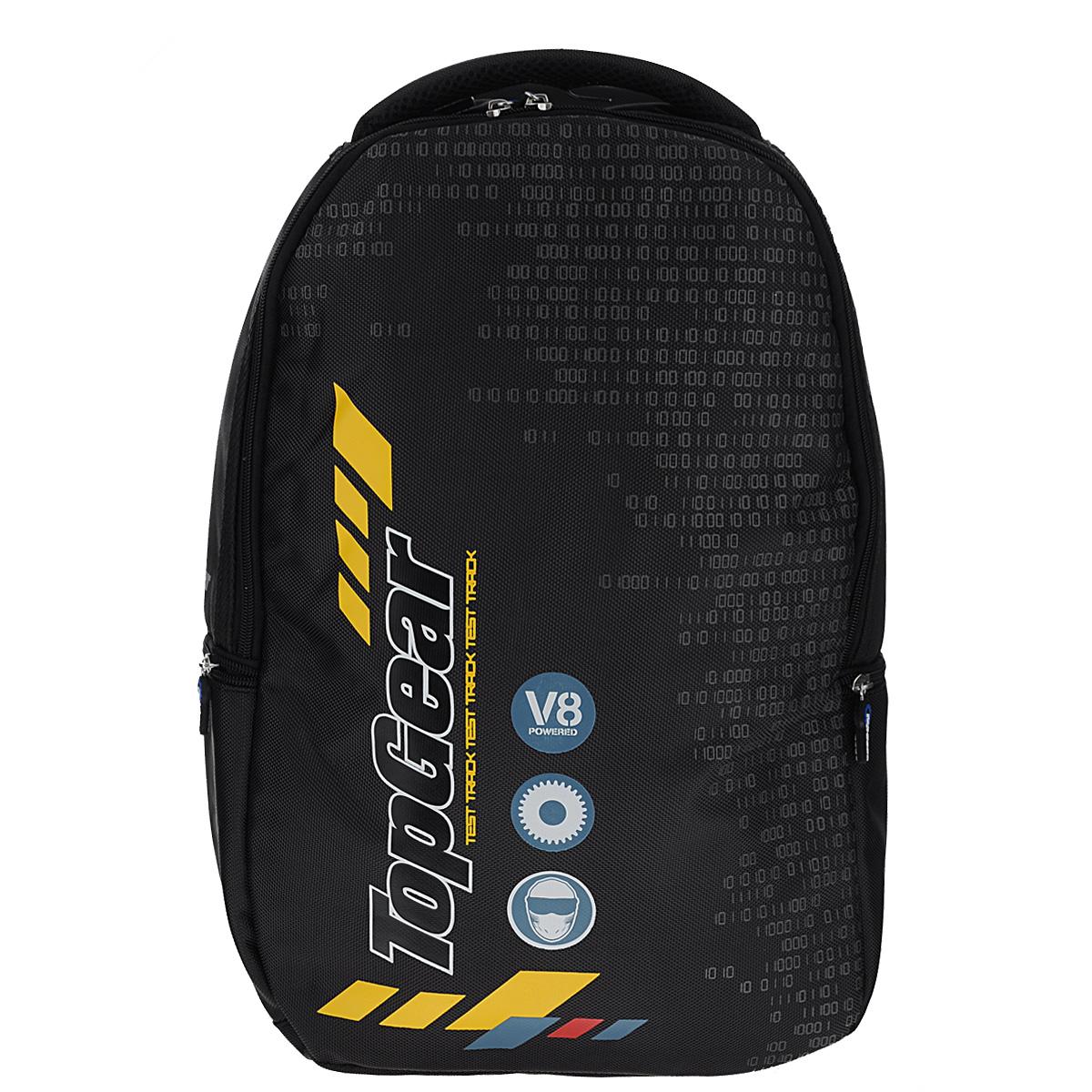 Рюкзак молодежный Proff Top Gear, цвет: черныйTG15-BPA-12Рюкзак молодежный Proff Top Gear сочетает в себе современный дизайн, функциональность и долговечность. Он выполнен из водонепроницаемого, морозоустойчивого материла черного цвета. Содержит одно вместительное отделение, закрывающееся на пластиковый замок-молнию с двумя бегунками. Бегунки застежки дополнены прорезиненными держателями. Внутри отделения имеются пять накладных горизонтальных открытых кармашка, два кармашка на молнии, один из которых карман-сеточка. Также имеется брелок для ключей. Рюкзак имеет два вшитых боковых кармана, закрывающиеся на молнии. Конструкция спинки дополнена двумя эргономичными подушечками, противоскользящей сеточкой для предотвращения запотевания спины. Мягкие широкие лямки позволяют легко и быстро отрегулировать рюкзак в соответствии с ростом. Рюкзак оснащен удобной текстильной ручкой для переноски в руке. Под ручкой находится небольшой кармашек с мягкой подкладкой, который можно использовать для небольшого мобильного телефона. Этот рюкзак можно...