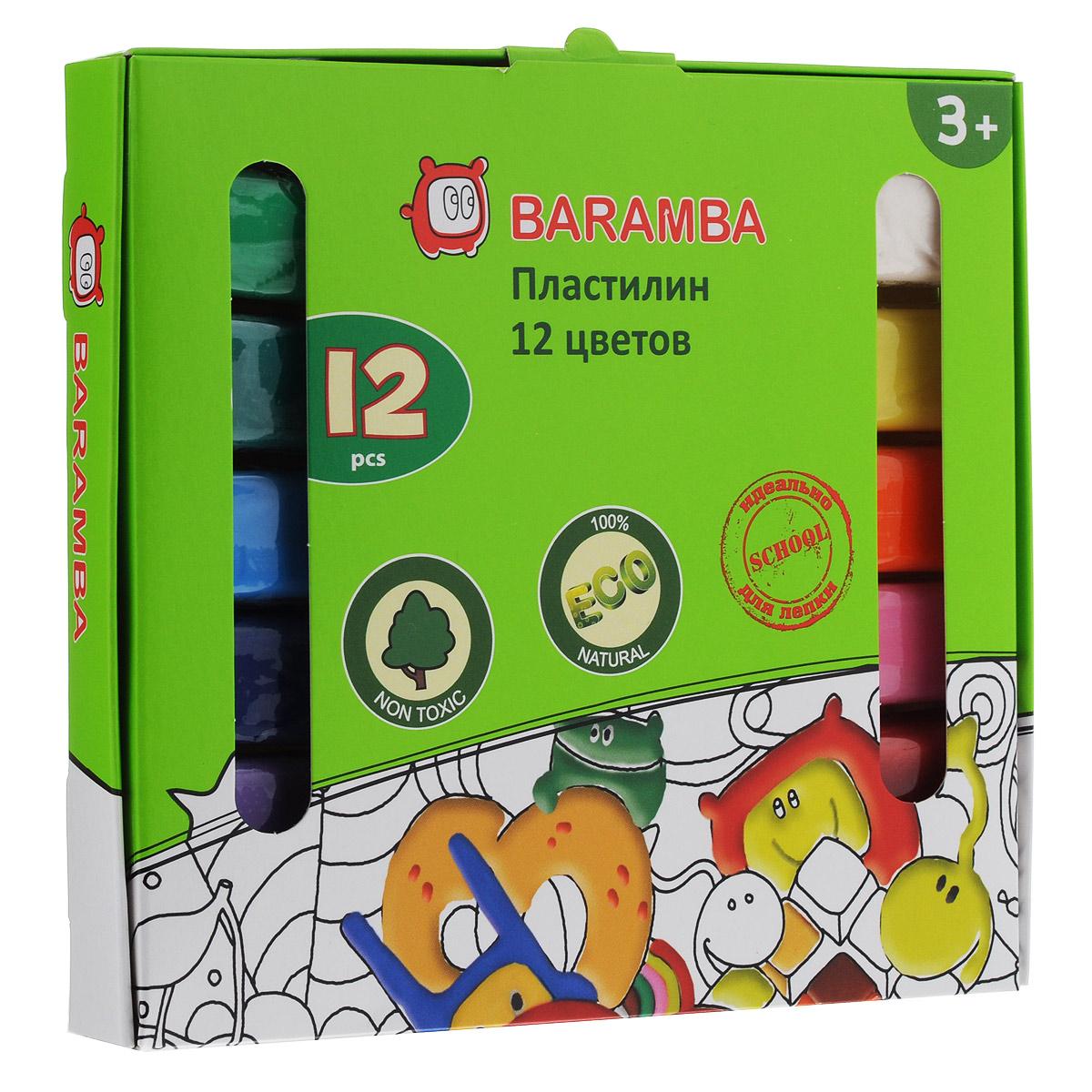Пластилин на растительной основе Baramba, 12 цветовB30012Пластилин на растительной основе Baramba - это отличная возможность познакомить ребенка с еще одним из видов изобразительного творчества, в котором создаются объемные образы и целые композиции. В набор входит пластилин 12 ярких цветов (белый, желтый, оранжевый, розовый, красный, коричневый, светло-зеленый, зеленый, голубой, синий, фиолетовый, черный). Цвета пластилина легко смешиваются между собой, и таким образом можно получить новые оттенки. Пластилин на растительной основе, очень мягкий, содержит натуральные масла и воск, легко смешивается друг с другом и не липнет к рукам и не затвердевает. Техника лепки богата и разнообразна, но при этом доступна даже маленьким детям. Занятие лепкой не только увлекательно, но и полезно для ребенка. Оно способствует развитию творческого и пространственного мышления, восприятия формы, фактуры, цвета и веса, развивает воображение и мелкую моторику.
