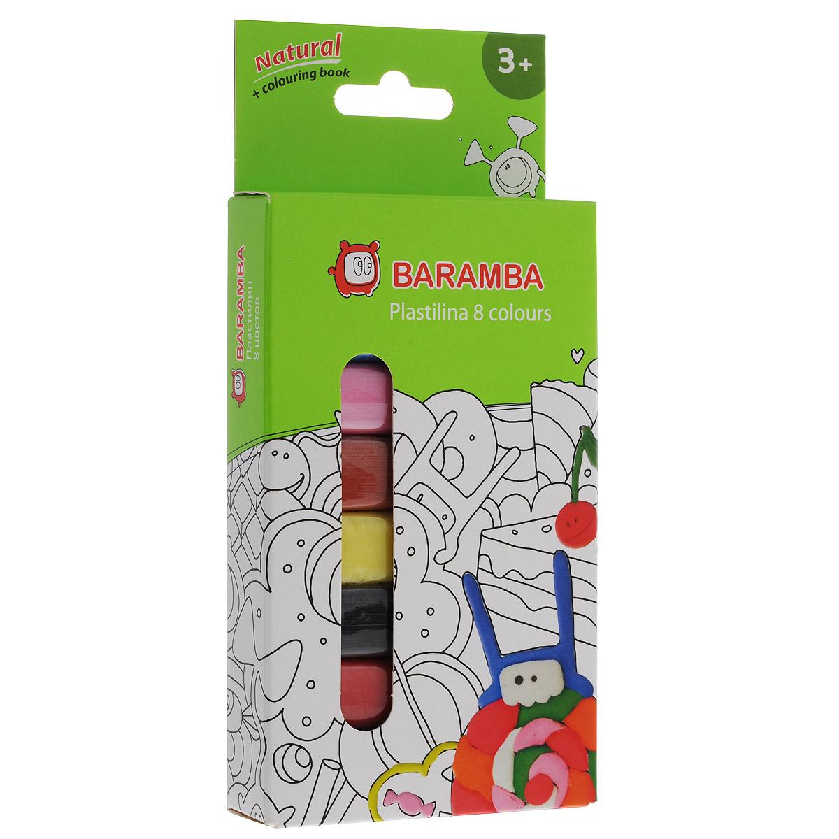 Пластилин на натуральной основе Baramba, 8 цветов, с раскраскойB30008Пластилин Baramba это отличная возможность познакомить ребенка с еще одним из видов изобразительного творчества, в котором создаются объемные образы и целые композиции. В набор входит пластилин 8 ярких цветов (белый, голубой, розовый, светло-коричневый, желтый, черный, красный, зеленый) и раскраска. Цвета пластилина легко смешиваются между собой, и таким образом можно получить новые оттенки. Пластилин на растительной основе имеет яркие, красочные цвета и не липнет к рукам, не сохнет. Техника лепки богата и разнообразна, но при этом доступна даже маленьким детям. Занятие лепкой не только увлекательно, но и полезно для ребенка. Оно способствует развитию творческого и пространственного мышления, восприятия формы, фактуры, цвета и веса, развивает воображение и мелкую моторику.