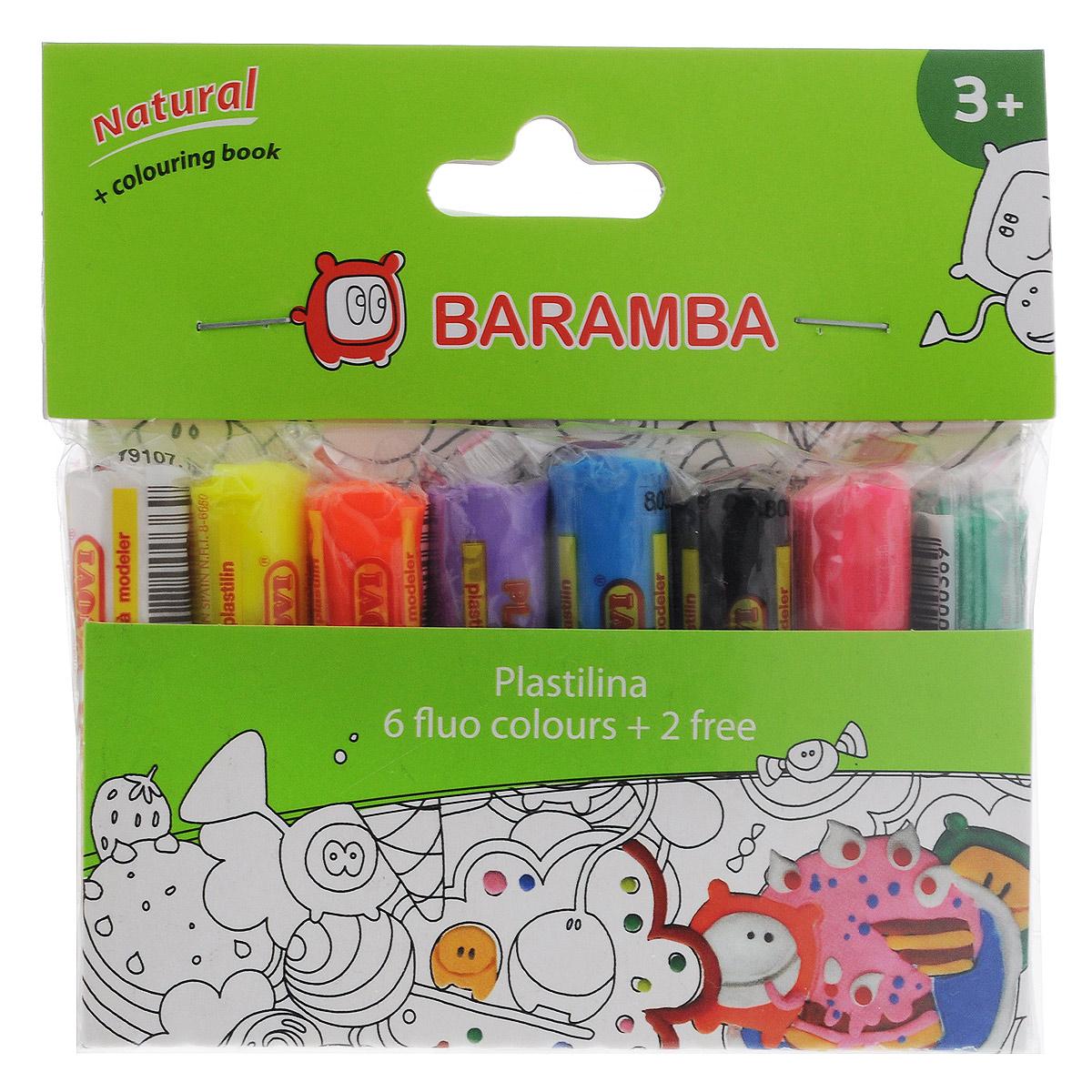 Пластилин на натуральной основе Baramba, с пищевыми красителями, 8 флоурисцветных цветовПластилин 6 цветов (белый, желтый, светло-коричневый, красный, голубой, зеленый)Пластилин Baramba это отличная возможность познакомить ребенка с еще одним из видов изобразительного творчества, в котором создаются объемные образы и целые композиции. В набор входит пластилин 8 ярких цветов (белый, желтый, оранжевый, фиолетовый, голубой, черный, розовый, зеленый), раскраска Цвета пластилина легко смешиваются между собой, и таким образом можно получить новые оттенки. Пластилин на растительной основе имеет яркие, красочные цвета и не липнет к рукам, не сохнет. Техника лепки богата и разнообразна, но при этом доступна даже маленьким детям. Занятие лепкой не только увлекательно, но и полезно для ребенка. Оно способствует развитию творческого и пространственного мышления, восприятия формы, фактуры, цвета и веса, развивает воображение и мелкую моторику.