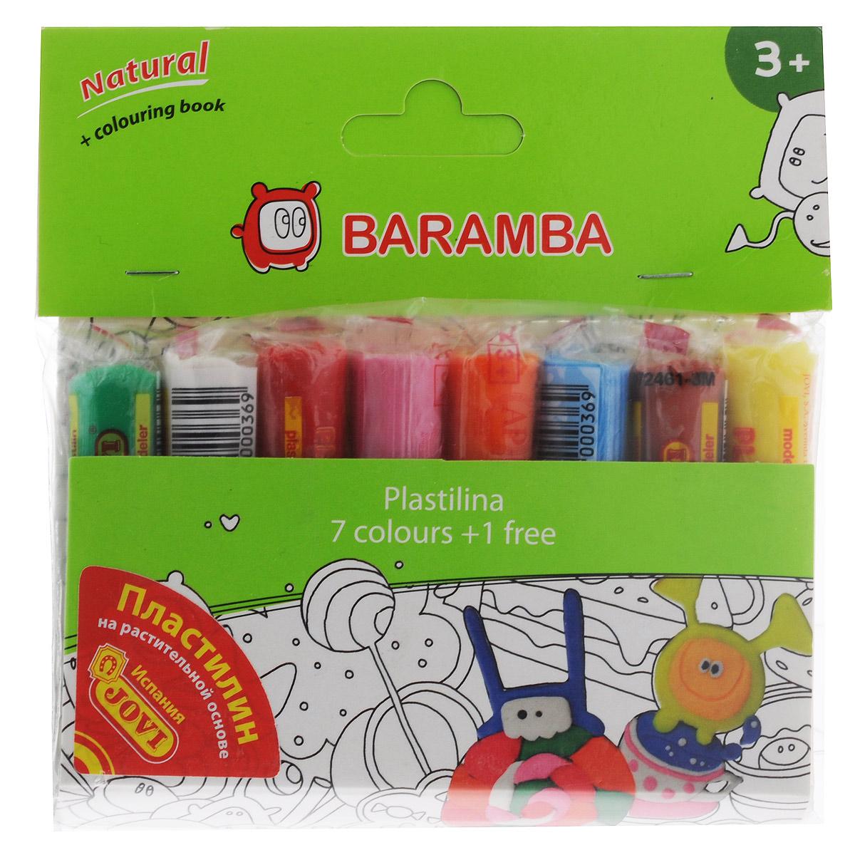 Пластилин на натуральной основе Baramba, с пищевыми красителями, 8 цветовB26007Пластилин Baramba это отличная возможность познакомить ребенка с еще одним из видов изобразительного творчества, в котором создаются объемные образы и целые композиции. В набор входит пластилин 8 ярких цветов (зеленый, белый, красный, розовый, оранжевый, голубой, коричневый, желтый), раскраска. Цвета пластилина легко смешиваются между собой, и таким образом можно получить новые оттенки. Пластилин на растительной основе имеет яркие, красочные цвета и не липнет к рукам, не сохнет. Техника лепки богата и разнообразна, но при этом доступна даже маленьким детям. Занятие лепкой не только увлекательно, но и полезно для ребенка. Оно способствует развитию творческого и пространственного мышления, восприятия формы, фактуры, цвета и веса, развивает воображение и мелкую моторику.