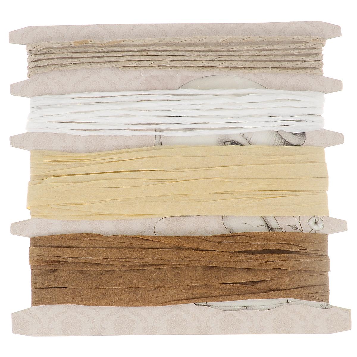 Набор жгутов и рафий Santoro London Мирабэль, 4 штSNTW002Набор жгутов и рафий Santoro London Мирабэль, изготовленный из бумаги, состоит из 2 рафий, жгута из бумаги и жгута из волокон. Набор можно использовать для упаковки подарков, оформления цветочных композиций, для работ в стиле скрапбукинг. Длина жгутов: 1 м; 2 м. Длина рафий: 1м.