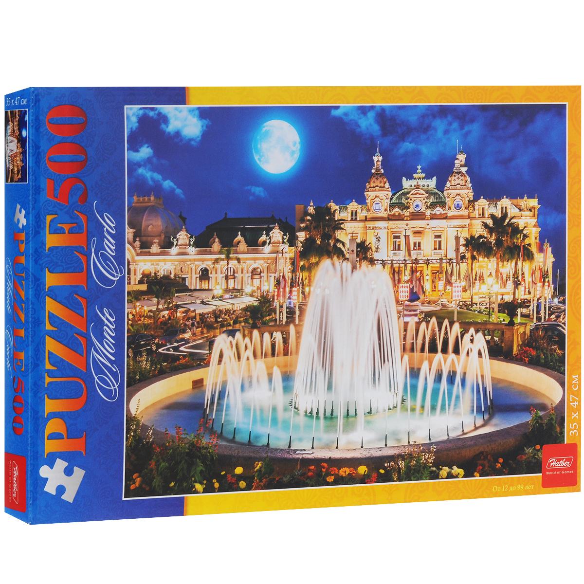 Вечер в Монте-Карло. Пазл, 500 элементов500ПЗ2_12414Пазл Вечер в Монте-Карло, без сомнения, придется по душе вашему ребенку. Собрав этот пазл, вы получите яркую цветную картинку с изображением роскошного фонтана на фоне дворца. Пазлы - замечательная игра для всей семьи. Собирание пазла развивает у детей мелкую моторику рук, тренирует наблюдательность, логическое мышление, знакомит с окружающим миром, с цветом и разнообразными формами, учит усидчивости и терпению, аккуратности и вниманию. Получившееся яркое изображение станет отличным украшением вашего интерьера.