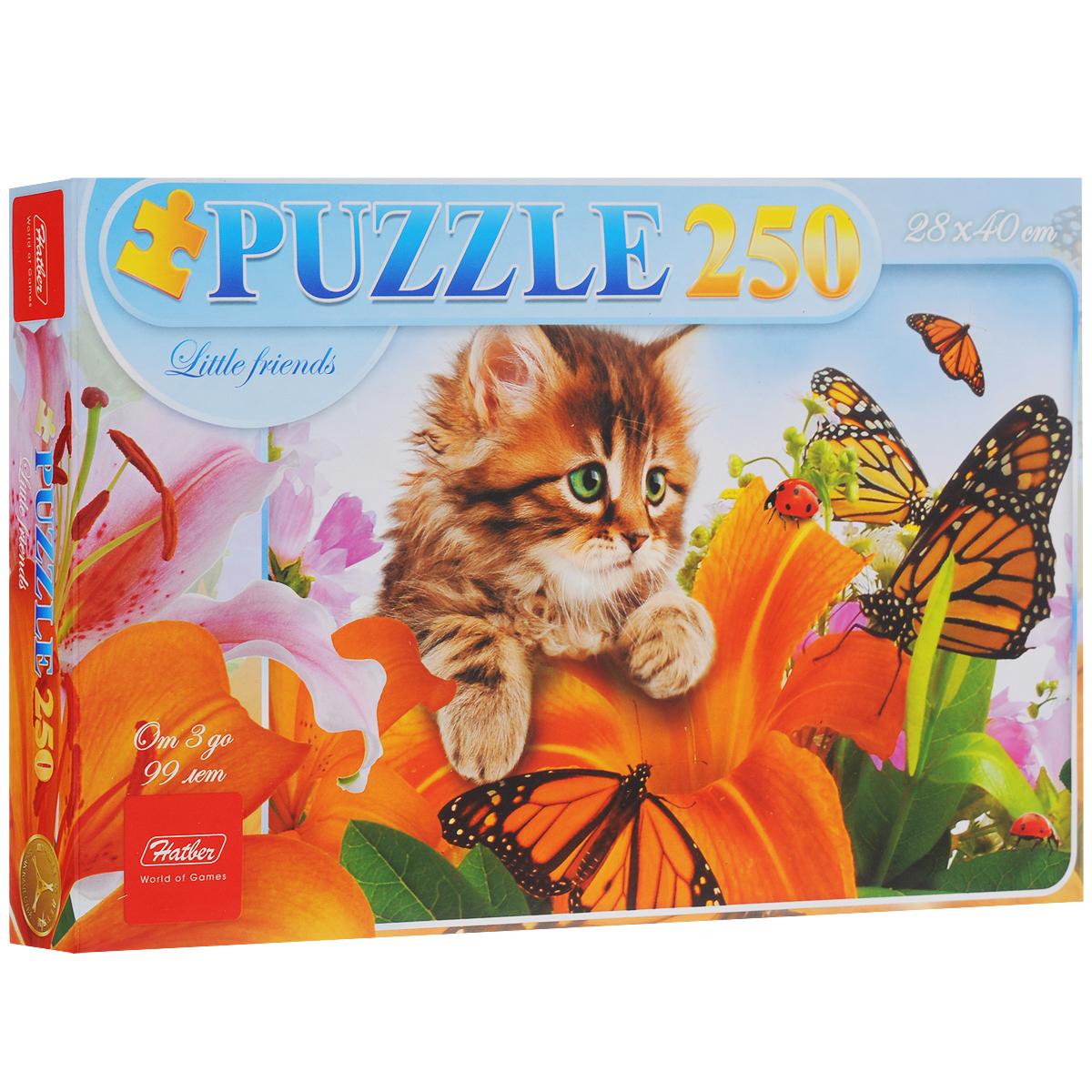 Котенок в цветах. Пазл, 250 элементов