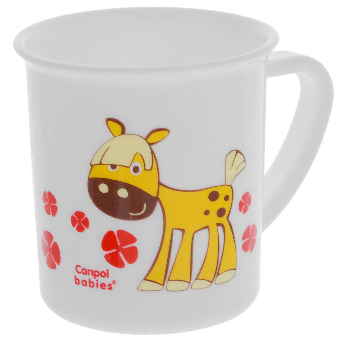 Canpol Babies Чашка детская Лошадка цвет желтый4/413_желтый/лошадкаДетская чашка Canpol Babies предназначена для того, чтобы приучить малыша пить из посуды для взрослых. Чашка выполнена из безопасного полипропилена и оформлена изображением забавной лошадки. Чашка выглядит совсем как обычная, однако она меньше по объему. Если случайно малыш уронит чашку, то она не разобьется.