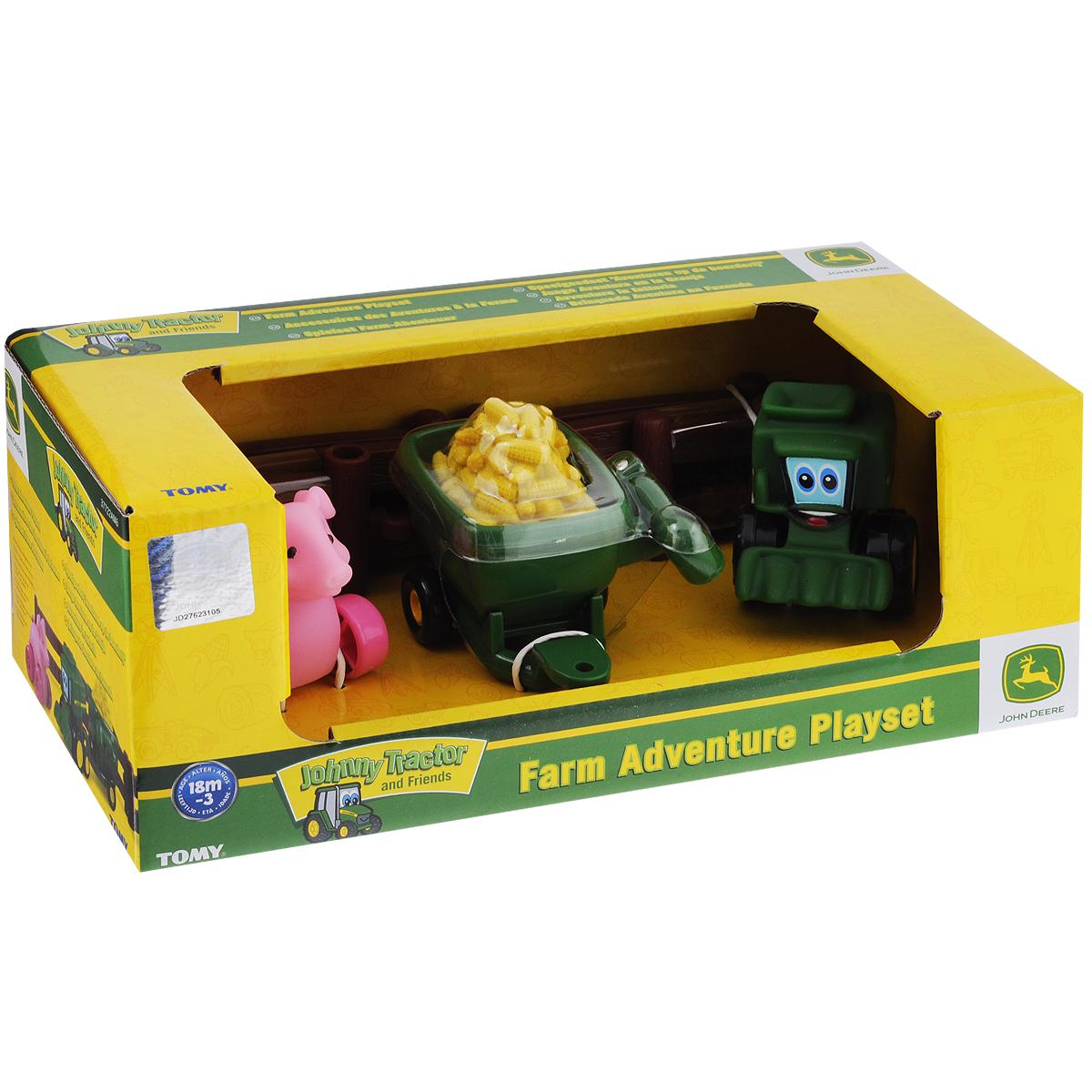 Игровой набор Tomy Приключения трактора Джонни и его друзей на ферме: Поросенок37722_поросенокИгровой набор Tomy Приключения трактора Джонни и его друзей на ферме: Поросенок несомненно понравится вашему ребенку и поможет обеспечить увлекательный досуг. Набор включает трактор, прицеп, поросенка на колесиках, элемент в виде кучи кукурузы и 6 элементов забора. Прицеп можно присоединить как к поросенку, так и к трактору. Предметы выполнены из высококачественного пластика и поставляются в фирменной упаковке. Ваш ребенок будет часами играть с этим игровым набором, придумывая различные истории. Порадуйте его таким интересным набором! Рекомендуемый возраст: от 18 месяцев до 3-х лет.