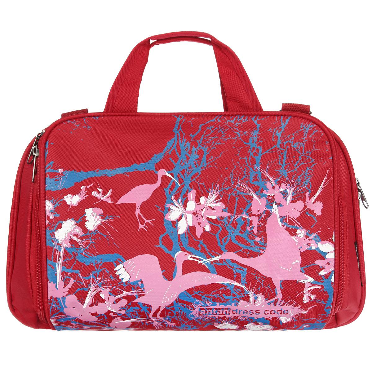 Сумка женская Antan Райские птицы, цвет: красный, розовый. 1-21/11-21/1Вместительная сумка Antan Райские птицы выполнена из прочного полиэстера и оформлена принтом с изображением птиц. Сумка имеет три отделения, закрывающихся на застежки-молнии с двумя бегунками. Внутри первого отделения расположены два накладных сетчатых кармана. Среднее отделение содержит вместительный накладной карман и карман-средник на застежке-молнии. Изделие оснащено двумя удобными ручками и съемным плечевым ремнем регулируемой длины. Такая сумка позволит вам оптимально распределить все необходимые вещи. С ней вы спокойно можете отправляться как на прогулку, так и в дальнюю поездку.