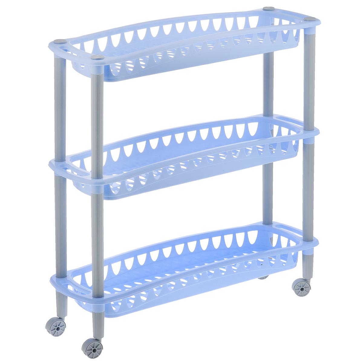 Этажерка Бытпласт Джулия, 3-х секционная, цвет: голубой, на колесиках, 59 см х 18 см х 61 смС12415Этажерка Бытпласт Джулия выполнена из высококачественного прочного пластика и предназначена для хранения различных предметов. Изделие имеет 3 полки прямоугольной формы с перфорированными стенками. Благодаря колесикам этажерку можно перемещать в любую сторону без особых усилий. В ванной комнате вы можете использовать этажерку для хранения шампуней, гелей, жидкого мыла, стиральных порошков, полотенец и т.д. Ручной инструмент и детали в вашем гараже всегда будут под рукой. Удобно ставить банки с краской, бутылки с растворителем. В гостиной этажерка позволит удобно хранить под рукой книги, журналы, газеты. С помощью этажерки также легко навести порядок в детской, она позволит удобно и компактно хранить игрушки, письменные принадлежности и учебники. Этажерка - это идеальное решение для любого помещения. Она поможет поддерживать чистоту, компактно организовать пространство и хранить вещи в порядке, а стильный дизайн сделает этажерку ярким...