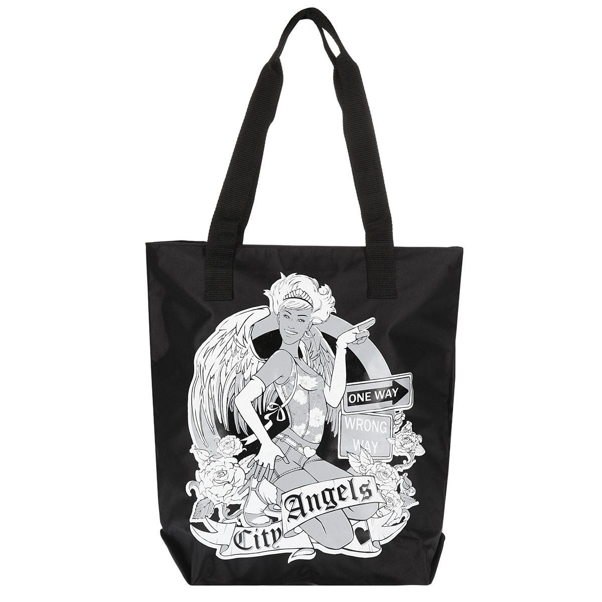 Сумка женская Antan City Angels, цвет: черный. 1-581-58 Citi angels/черныйСтильная женская сумка City Angels выполнена из плотного материала (полиэстера) и оформлена модным принтом. Сумка имеет одно вместительное отделение, закрывающееся на застежку-молнию. Внутри расположен накладной карман на застежке-молнии. Сумка оснащена двумя удобными ручками, позволяющими носить ее на плече. Сумка - это стильный аксессуар, который подчеркнет вашу изысканность и индивидуальность и сделает ваш образ завершенным.