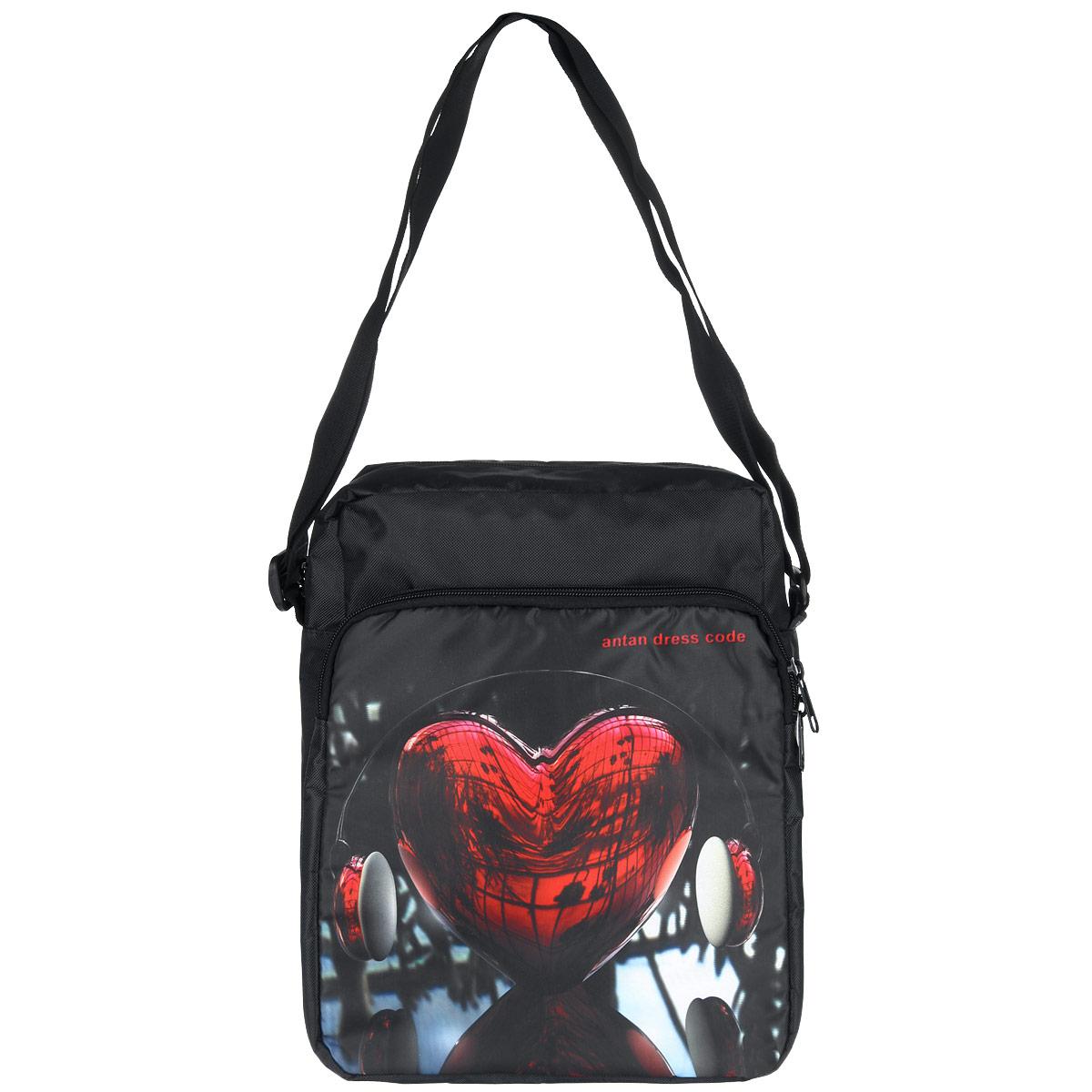 Сумка молодежная Antan love radio, цвет: черный, мультицвет. 1-1431-143Стильная молодежная сумка Antan выполнена из полиэстера черного цвета и оформлена оригинальным принтом. Сумка, закрывающаяся на застежку-молнию с двумя бегунками, состоит из одного основного отделения, внутри содержащего карман на застежке-молнии. Снаружи, на лицевой стороне сумки, располагается накладной карман на застежке-молнии с двумя бегунками. Сумка оснащена регулируемым плечевым ремнем, он удобен в носке, обеспечивает максимальный комфорт. Дно дополнено жесткой вставкой. Такая сумка идеально дополнит ваш образ и позволит всегда быть в тренде.
