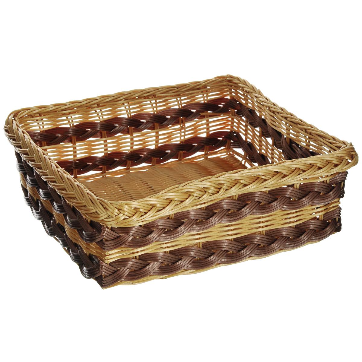 Корзинка для фруктов Kesper, 34 х 29 х 12 см 1781-41781-4Оригинальная плетеная корзинка Kesper прямоугольной формы, выполнена из пластика, напоминающего фактуру дерева. Корзинка прекрасно подойдет для вашей кухни. Она предназначена для красивой сервировки фруктов. Изящный дизайн придется по вкусу и ценителям классики, и тем, кто предпочитает утонченность и изысканность. Можно мыть в посудомоечной машине. Размер корзинки: 34 см х 29 см х 12 см.
