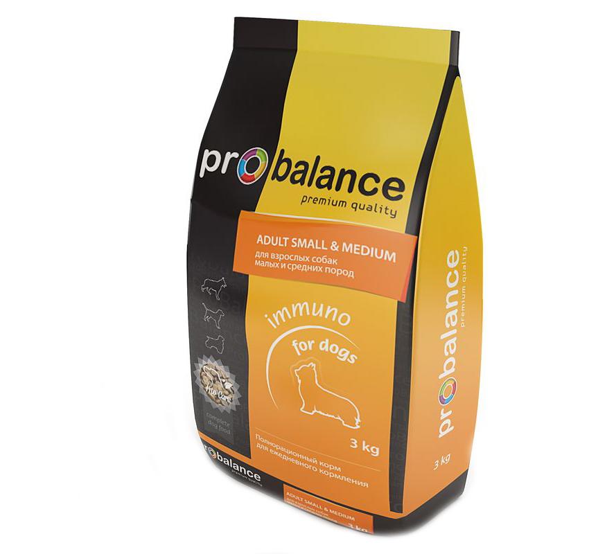 Корм сухой ProBalance Immuno для взрослых собак малых и средних пород, 3 кг6592Сухой корм ProBalance Immuno предназначен для ежедневного кормления взрослых собак малых и средних пород. Природные антиоксиданты и лизин, содержащиеся в гранулах, способствует укреплению иммунитета. Специально подобранный пребиотик поддерживает здоровую микрофлору кишечника, а глюкозамин и хондроитин помогают сохранить суставы здоровыми. Размер гранул разработан с учетом анатомических особенностей собак малых и средних пород. В состав корма входит фито-коктейль Fitocare - запатентованная композиция из 17-ти целебных трав, которая обладает общеукрепляющим и тонизирующим свойством, стимулирует иммунитет и поддерживает активную физическую форму собаки. Корма ProBalance - премиальные корма для животных, обеспечивающие полноценное сбалансированное питание с учетом возраста и индивидуальных особенностей вашего питомца. Высокое содержание мясных компонентов, а также разнообразие ингредиентов в составе обеспечивают животное всеми необходимыми питательными веществами....
