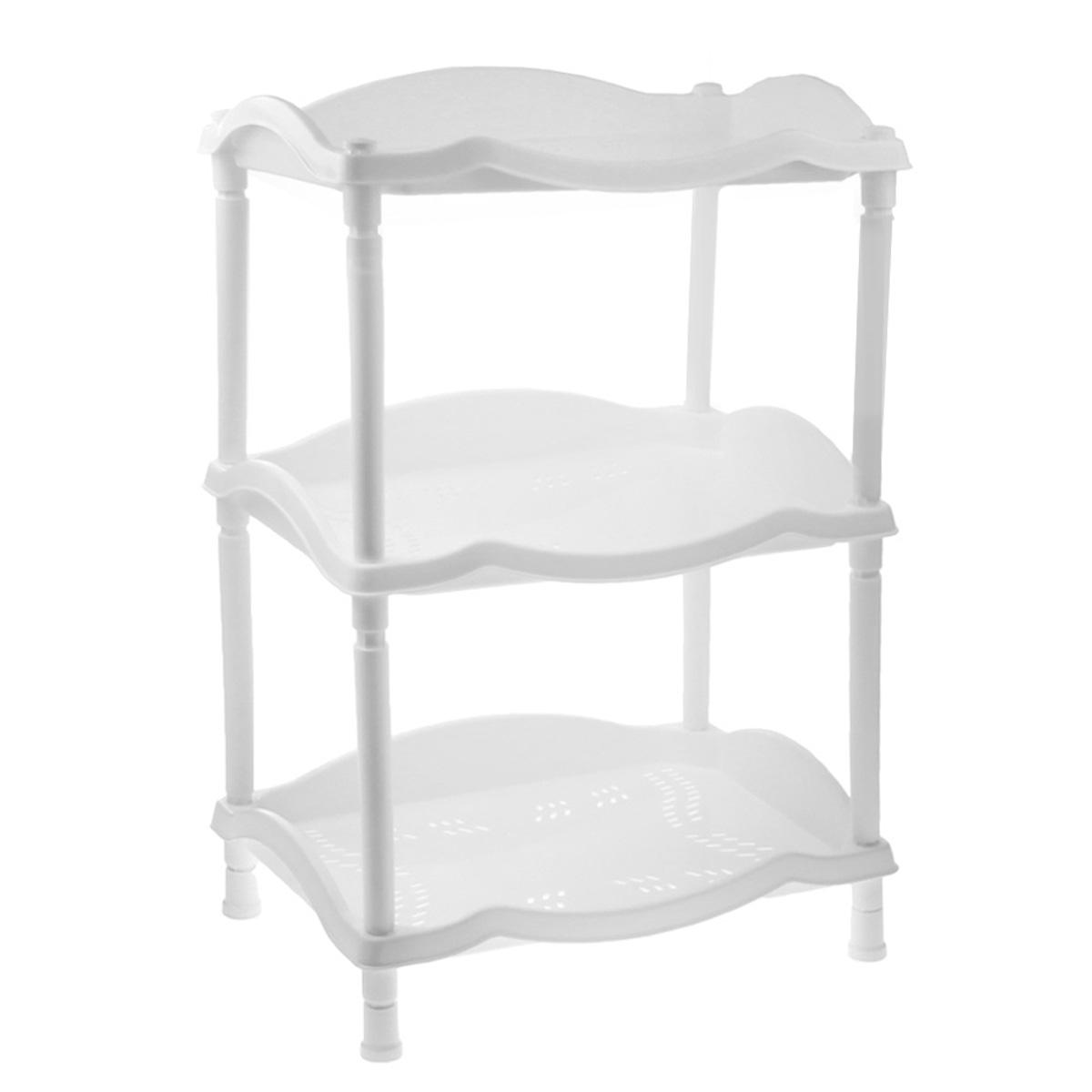 Этажерка Berossi Каскад, 3-х секционная, цвет: белый, 43,8 х 31,6 х 63,6 смА14301Этажерка Berossi Каскад выполнена из высококачественного прочного пластика и предназначена для хранения различных предметов. Изделие имеет 3 полки прямоугольной формы с перфорированными стенками. В ванной комнате вы можете использовать этажерку для хранения шампуней, гелей, жидкого мыла, стиральных порошков, полотенец и т.д. Ручной инструмент и детали в вашем гараже всегда будут под рукой. Удобно ставить банки с краской, бутылки с растворителем. В гостиной этажерка позволит удобно хранить под рукой книги, журналы, газеты. С помощью этажерки также легко навести порядок в детской, она позволит удобно и компактно хранить игрушки, письменные принадлежности и учебники. Этажерка - это идеальное решение для любого помещения. Она поможет поддерживать чистоту, компактно организовать пространство и хранить вещи в порядке, а стильный дизайн сделает этажерку ярким украшением интерьера. Размер этажерки (ДхШхВ): 43,8 см х 31,6 см х 63,6 см. Размер...