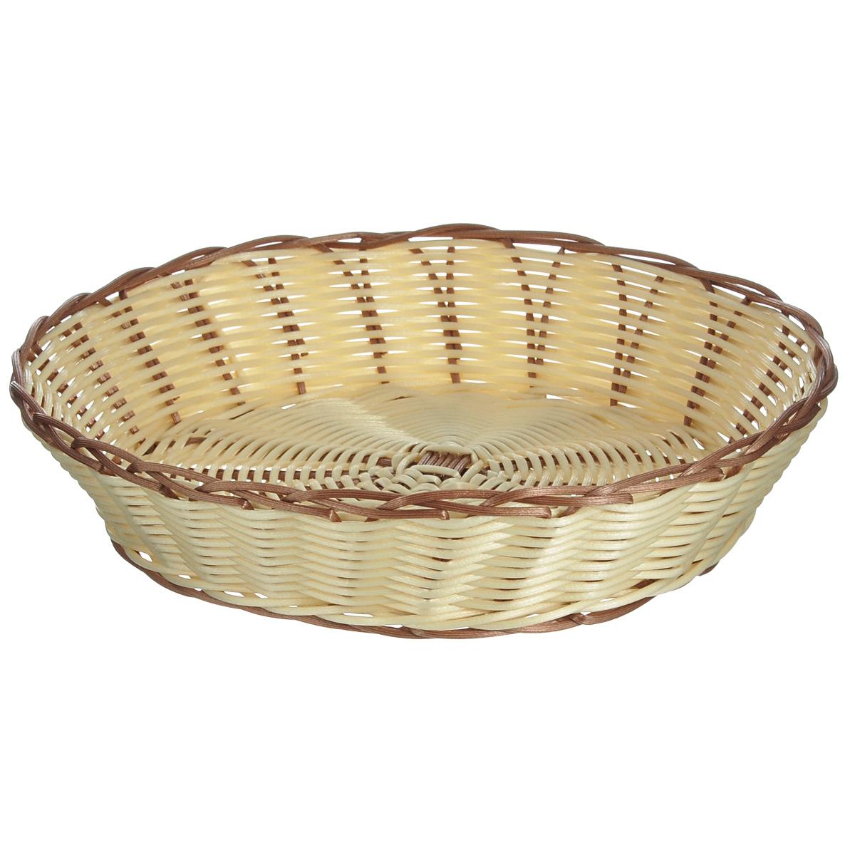 Корзинка для хлеба Kesper, диаметр 28 см. 1981-11981-1Оригинальная плетеная корзинка Kesper круглой формы, выполнена из пластика, напоминающего фактуру дерева. Корзинка прекрасно подойдет для вашей кухни. Она предназначена для красивой сервировки хлебобулочной продукции. Изящный дизайн придется по вкусу и ценителям классики, и тем, кто предпочитает утонченность и изысканность. Можно мыть в посудомоечной машине. Диаметр корзинки: 28 см. Высота корзинки: 6 см.