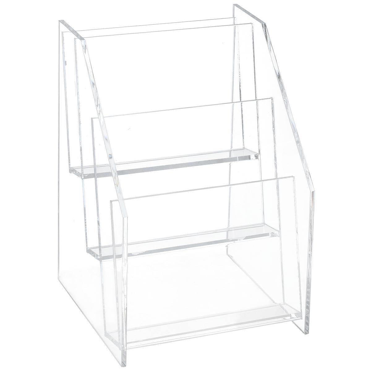 Дисплей для спреев Clearsnap, 9,5 х 9 х 14 см92509Дисплей Clearsnap изготовлен из прозрачного пластика и служит держателем спреев Spritz от Donna Salazar. Изделие оснащено 3 полочками. Легкий и компактный дисплей можно поставить на ровную поверхность в удобном для вас месте. Благодаря такому дисплею спреи всегда будут на месте! Общий размер дисплея: 9,5 см х 9 см х 14 см. Размер полочки: 9 см х 2 см х 10,5 см.