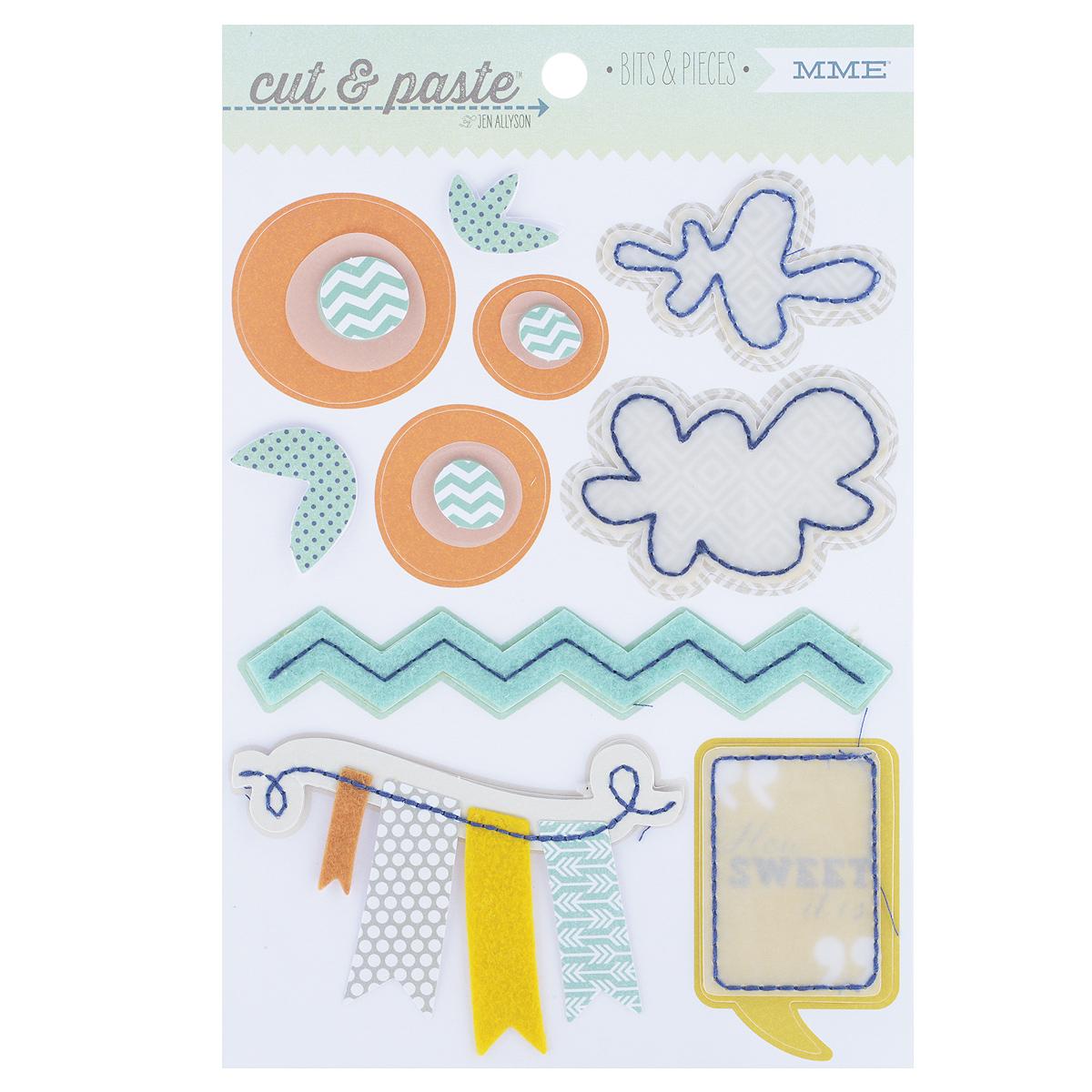 Стикеры My Minds Eye Sweet, 12,5 х 19 см, 10 штCP1032Стикеры My Minds Eye Sweet выполнены из высококачественной бумаги и фетра в виде облачков, кружков, флажков. Такой набор прекрасно подойдет для оформления творческих работ в технике скрапбукинга. Стикеры можно использовать для украшения фотоальбомов, скрап-страничек, подарков, конвертов, фоторамок, открыток и многого другого. В наборе - 10 стикеров разного размера и дизайна. На задней стороне - клейкая поверхность. Скрапбукинг - это хобби, которое способно приносить массу приятных эмоций не только человеку, который этим занимается, но и его близким, друзьям, родным. Это невероятно увлекательное занятие, которое поможет вам сохранить наиболее памятные и яркие моменты вашей жизни, а также интересно оформить интерьер дома. Размер листа: 12,5 см х 19 см. Средний размер стикера: 3,5 см х 5,5 см. Количество стикеров: 10 шт.