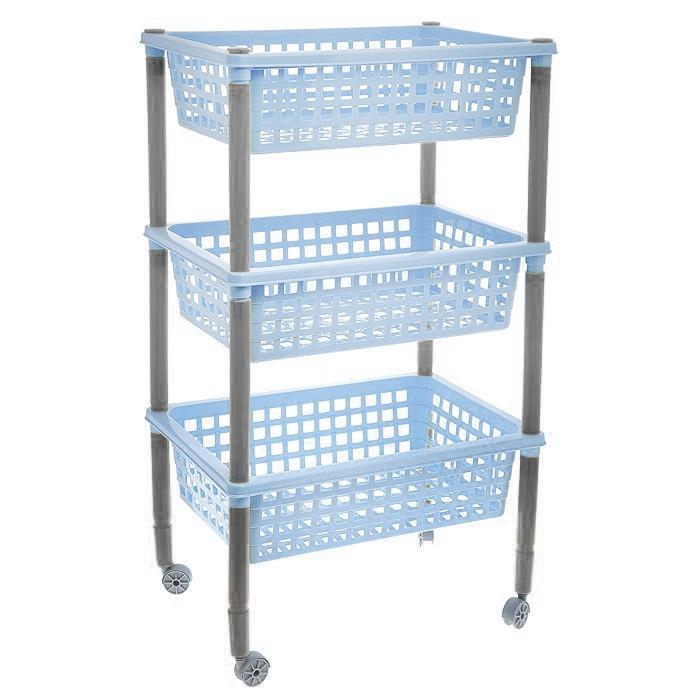 Этажерка Элиза, 3-х ярусная, на колесиках, цвет: голубой, 42 х 29 х 73 смС12405Этажерка Элиза выполнена из экологически чистого нетоксичного материала, легко собирается и чистится. Изделие имеет 3 полки прямоугольной формы, оформленные перфорацией. В ванной комнате вы можете использовать этажерку для хранения шампуней, гелей, жидкого мыла, стиральных порошков, полотенец и т.д. На кухне подойдет для хранения овощей, фруктов или кухонных принадлежностей. В прихожей этажерка позволит удобно хранить перчатки, сумки, шапки и т.д. С помощью этажерки также легко навести порядок в детской, она позволит удобно и компактно хранить игрушки, письменные принадлежности и учебники. Для удобства перемещения этажерка снабжена колесиками. Этажерка - это идеальное решение для любого помещения. Она поможет поддерживать чистоту, компактно организовать пространство и хранить вещи в порядке, а стильный дизайн сделает этажерку ярким украшением интерьера. Размер этажерки (ДхШхВ): 42 см х 29 см х 73 см. Размер полки (ДхШхВ): 42...