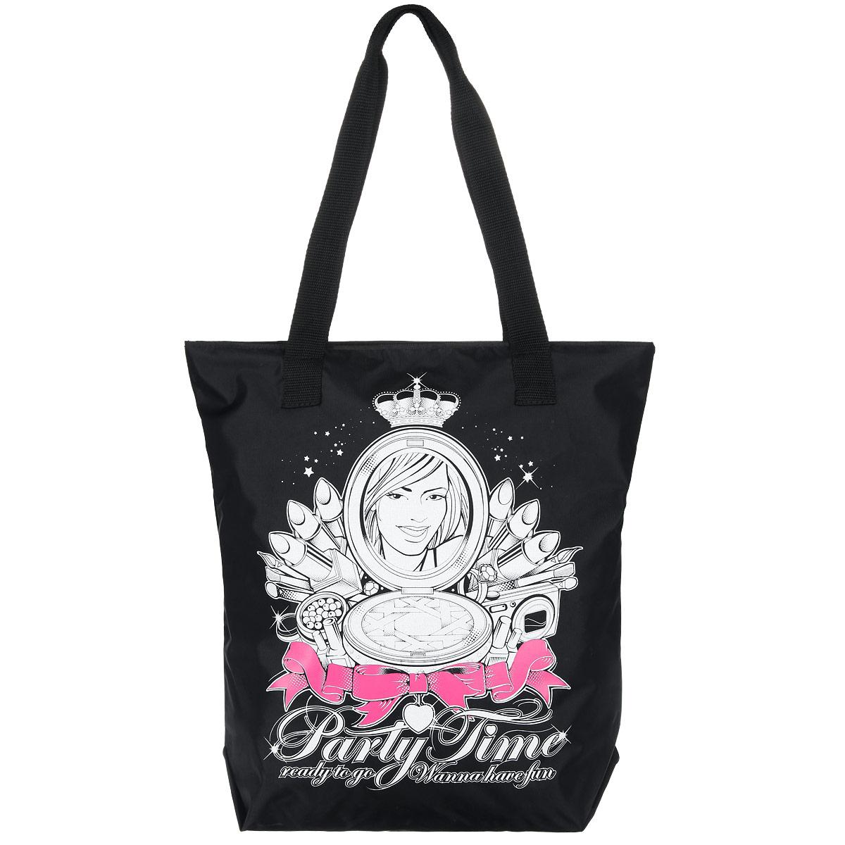 Сумка женская Antan Party time, цвет: черный, белый, розовый. 1-581-58 party time/черныйСтильная женская сумка Wild Fashion выполнена из плотного материала (полиэстера) и оформлена оригинальным принтом. Изделие имеет одно вместительное отделение, закрывающееся на застежку-молнию. Внутри расположен накладной карман на застежке-молнии. Сумка оснащена двумя удобными ручками, позволяющими носить ее на плече. Сумка - это стильный аксессуар, который подчеркнет вашу изысканность и индивидуальность и сделает ваш образ завершенным.