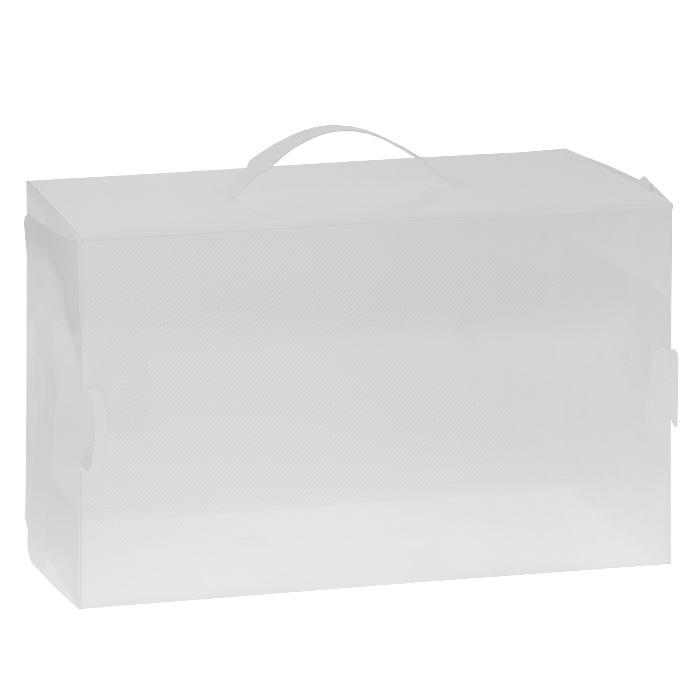 Коробка для хранения сапог Loks, 52 х 30 х 11,5 смL102-104Коробка Loks, выполненная из прочного пластика, предназначена для сезонного хранения сапог. Специальные отверстия на корпусе коробки обеспечивают доступ воздуха и позволяют обуви дышать. В коробку помещается пара обуви до 40-го размера включительно. Простая система сборки позволяет быстро собрать изделие. Прозрачность материала поможет найти нужную пару обуви, не открывая коробки. Удобная ручка служит для транспортировки коробки и облегчает извлечение ее из шкафа. Изделие открывается с боковой стороны и позволяет извлекать содержимое, не доставая саму коробку.