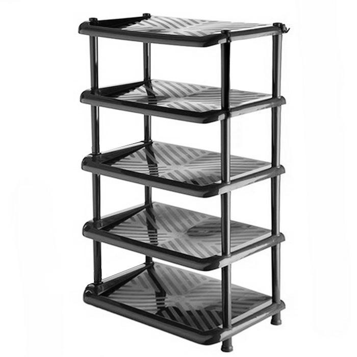 Этажерка для обуви «Полимербыт», 5-ти секционная, цвет: черный, 49,5 х 31 х 88 см С406  мебель трансформер диван кровать шкаф спб