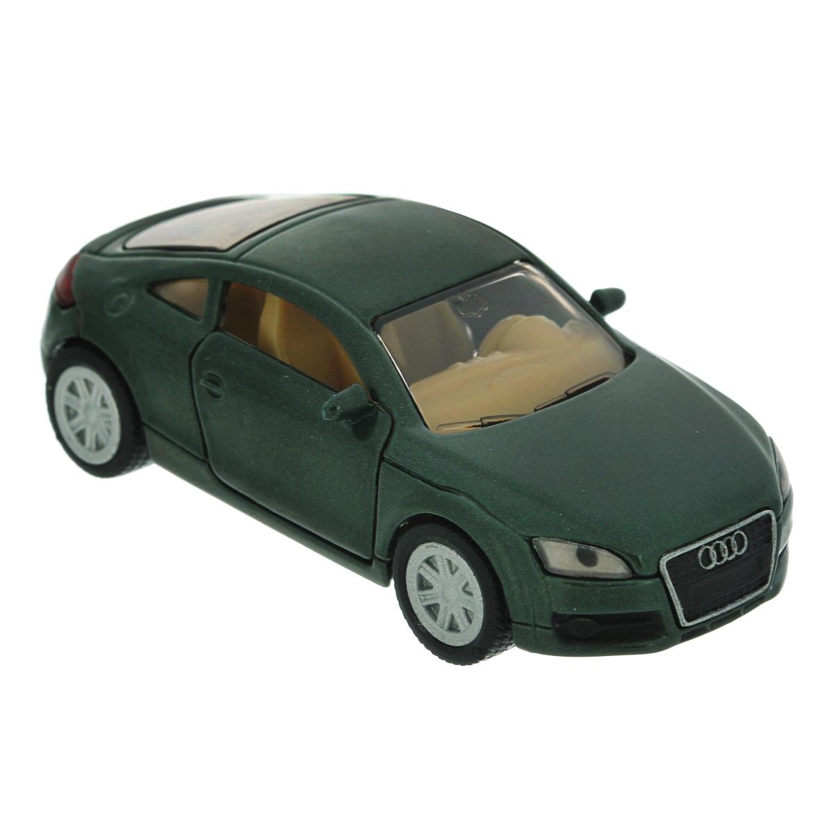 Siku Модель автомобиля Audi TT1428Коллекционная модель Siku Audi TT выполнена в виде точной копии одноименного автомобиля фирмы Audi. Такая модель понравится не только ребенку, но и взрослому коллекционеру, и приятно удивит вас высочайшим качеством исполнения. Модель выполнена из металла с элементами из пластика; прорезиненные колеса крутятся. Двери машинки открываются. Отличный подарок для любителей автомобилей!