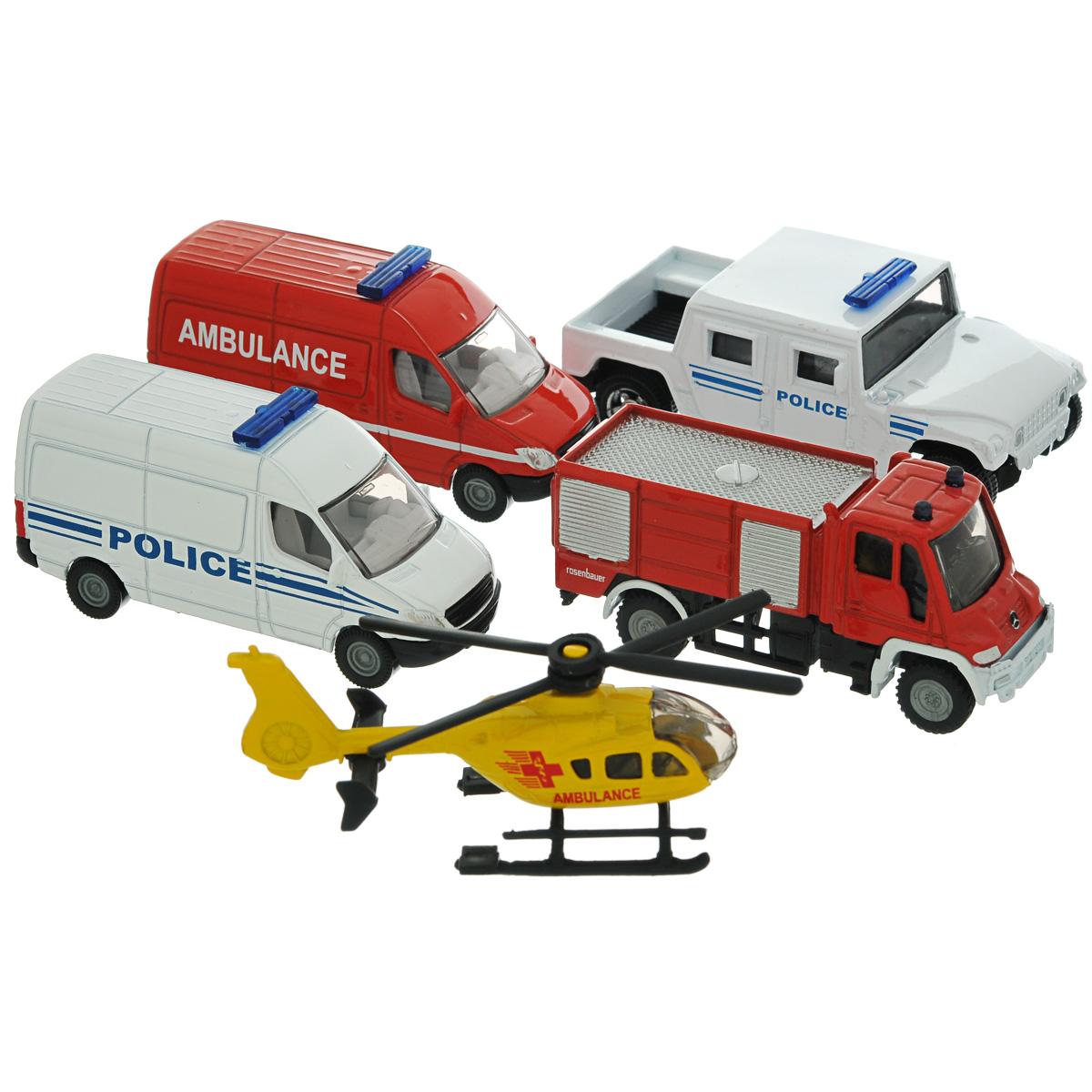 Siku Игровой набор Служба спасения6289Игровой набор Siku Железнодорожный несомненно понравится вашему ребенку и обеспечит увлекательный досуг. Набор включает машинку скорой помощи, пожарную и две полицейских машинки и спасательный вертолет. Предметы выполнены из металла с использованием высококачественного пластика. Ваш ребенок будет часами играть с этим набором, придумывая различные истории. Эта игрушка будет интересна не только детям, но и взрослым коллекционерам.