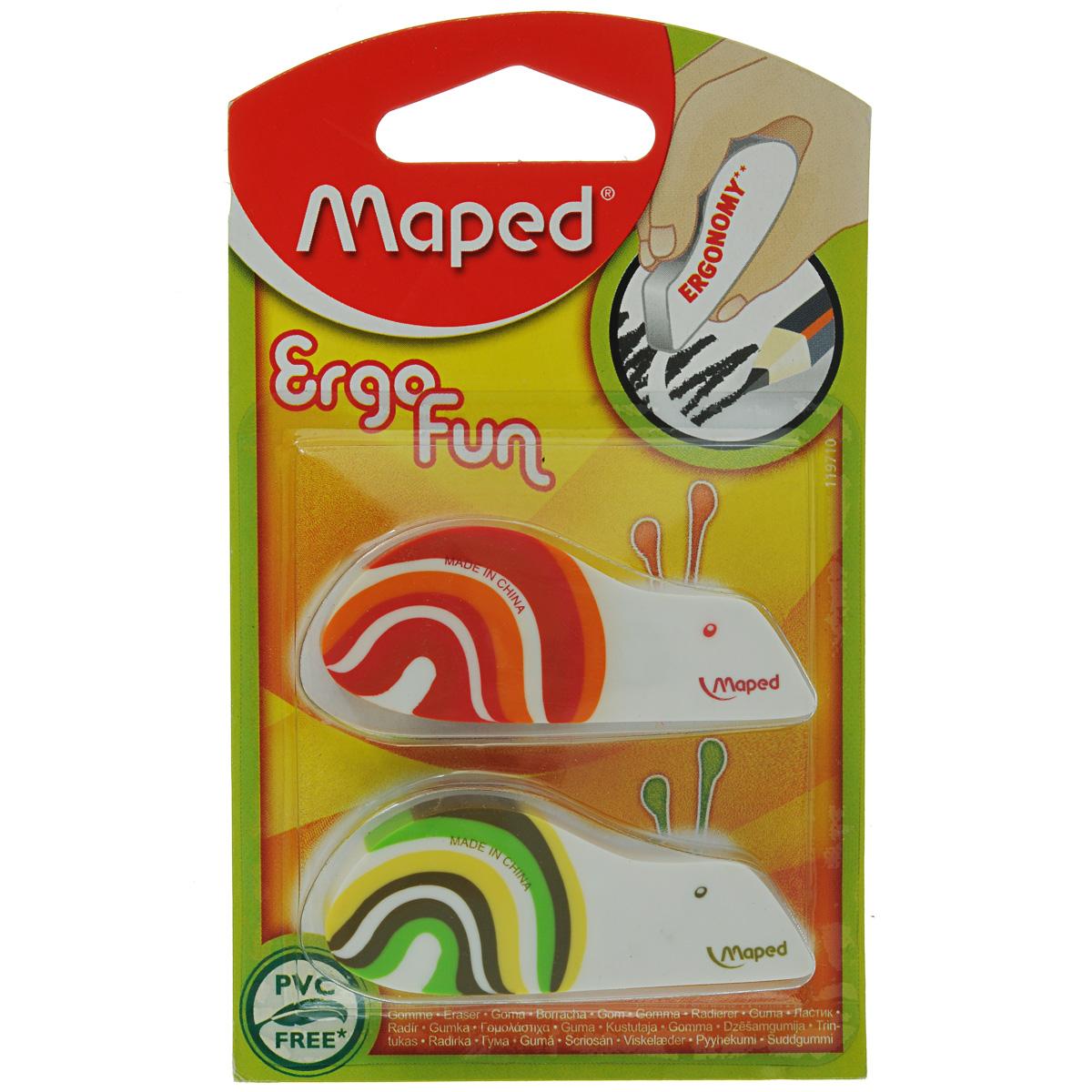 Набор ластиков Maped Ergo Fun, 2 шт119710_зеленый, красныйНабор ластиков Maped Ergo Fun состоит из двух ластиков в виде забавных улиток, выполненных из экологически чистого каучука. Эргономичная форма ластика удобна для детских рук. Удобная форма обеспечивает точное простое стирание тонких и широких линий. Ластики в форме ярких улиток несомненно привлекут внимание и интерес вашего ребенка к процессу обучения.