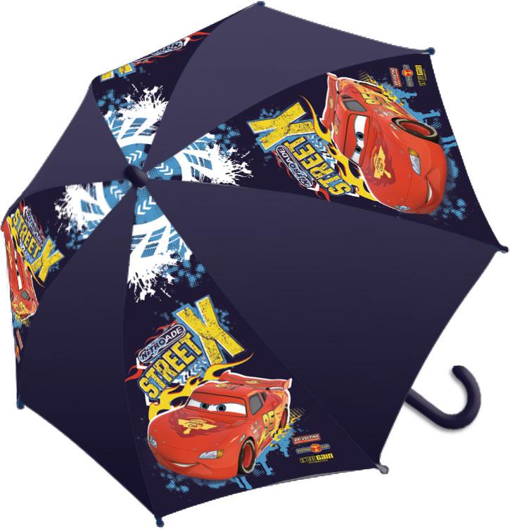 Зонт-трость детский Cars, цвет: темно-фиолетовый, красный, желтыйCRCS-UA1-U8Яркий детский зонт-трость Cars станет замечательным подарком вашему ребенку и доставит ему много удовольствия. Его форма надежно защитит ребенка в дождливую погоду. Все выступающие металлические части закрыты пластиком, что является защитой от возможных повреждений. Купол зонта выполнен из полиэфирного эластомера и оформлен ярким рисунком. Закрывается хлястиком на кнопку. Каркас зонта выполнен из восьми металлических спиц и оснащен удобной закругленной пластиковой рукояткой. Зонт раскладывается автоматически и складывается механически.