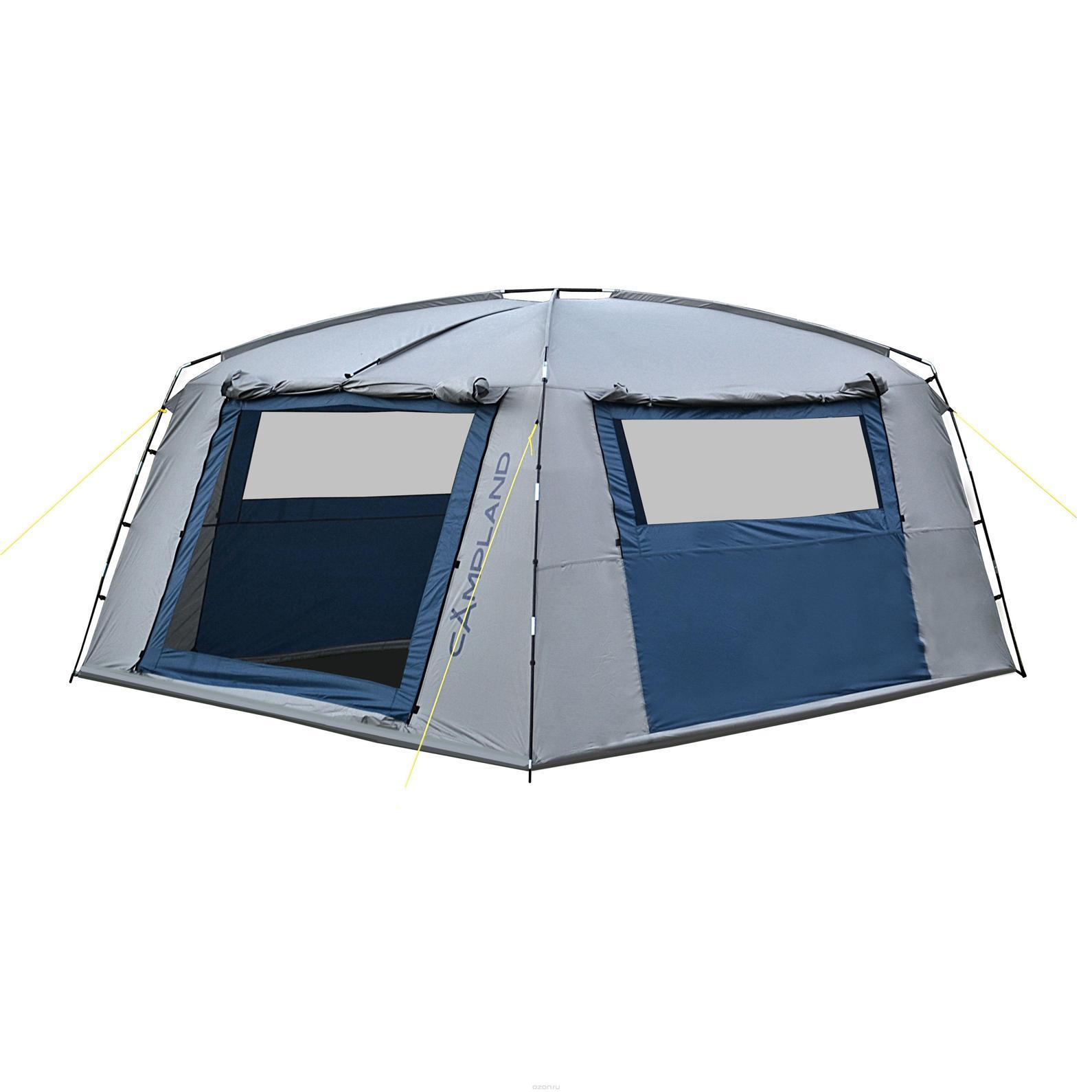 Тент шатер CAMPLAND FORT 335, цвет: серый, синийFORT 335Тент-шатер FORT 335 просторная модель для дружеских поездок на природу. Без такого приспособления не обойтись в случае, если погода меняется, собирается дождь или поднялся ветер, защитит тент и от яркого солнца. В широком и высоком тенте можно устроить кухню или столовую, сложить вещи и самим укрыться в случае необходимости. Тент-шатер вмещает большое количество человек, он очень прочный и устойчивый, выдерживает серьезные порывы ветра. Технологии: Вентиляционные окна (Х-вентиляция), чехол с утягивающими стропами, швы проклеены, оттяжки по углам тента, двухслойные двери. Обладает высокой ветроустойчивостью. С четырех сторон расположены штормовые оттяжки и стропы из полиэстра