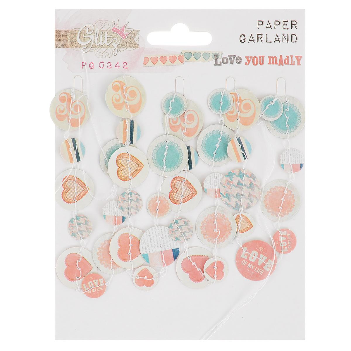 Декоративное украшение Paper Garland Glitz Love You Madly, длина 1,6 м