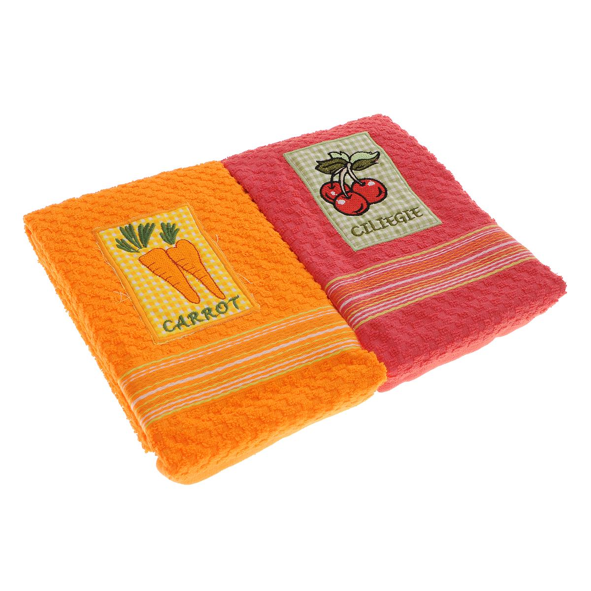"Набор махровых полотенец Bonita ""Морковь. Вишня"", 40 см х 60 см, 2 шт"