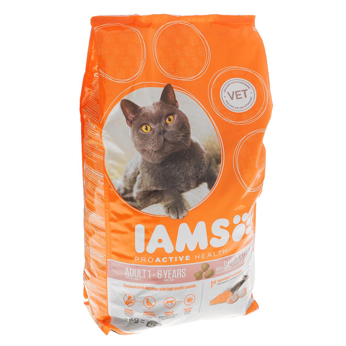 Корм сухой Iams Adult для взрослых кошек, с лососем и курицей, 3 кг81057400Сухой корм Iams Adult является полноценным сбалансированным питанием для взрослых кошек возрастом от 1 до 7 лет с норвежским лососем и курицей. Не содержит искусственных красителей, консервантов и вкусовых добавок. Iams дает вашей кошке все необходимые питательные вещества для поддержания все 7 признаков здорового животного: - Хорошее пищеварение: особая смесь клетчатки, включая пребиотики и пульпу сахарной свеклы, поддерживает способность всасывания необходимых питательных веществ в пищеварительной системе вашей кошки. - Сильная иммунная система: корм обогащен антиоксидантами, которые способствуют поддержанию сильной иммунной системы. - Здоровые зубы: каждый раз при смыкании челюстей хрустящие гранулы корма очищают зубы вашей кошки, что уменьшает образование зубного камня, который может являться причиной зловонного дыхания. - Сильная мускулатура: высококачественный белок помогает поддерживать мышцы вашей кошки в тонусе. - Здоровая...