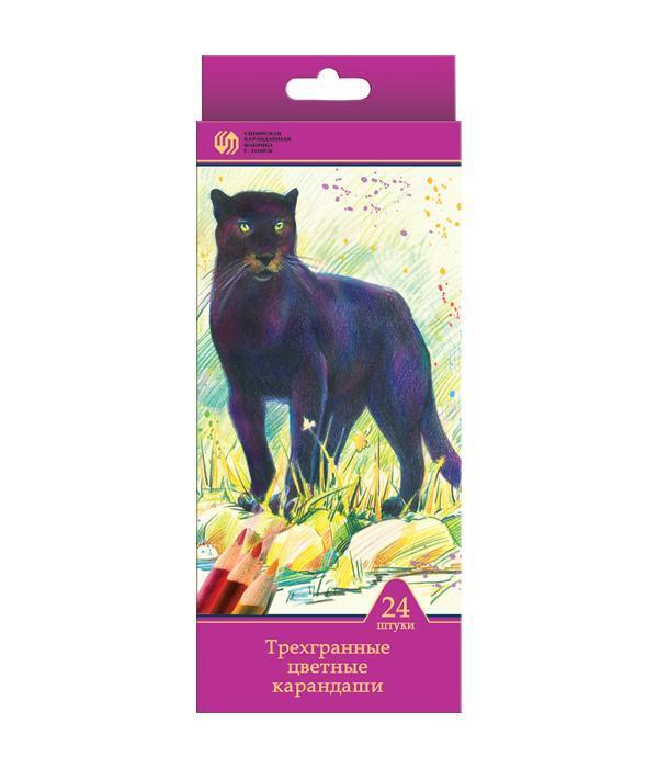 Карандаши 24 цвета Сибирский Кедр. Дикие кошки (длина 175 мм) трехгранные в картонной коробке с европодвесом, ok 6.9 ммСК049/24Цветные карандаши позволяют создавать рисунки с потрясающим эффектом. Традиционный корпус изготовлен из древесины сибирского кедра и многократно окрашен. Высококачественный ударопрочный грифель обеспечивает невероятно мягкое письмо, не ломается и не крошится при заточке. С цветными карандашами маленький художник сможет с легкостью воплотить свои многочисленные творческие замыслы!