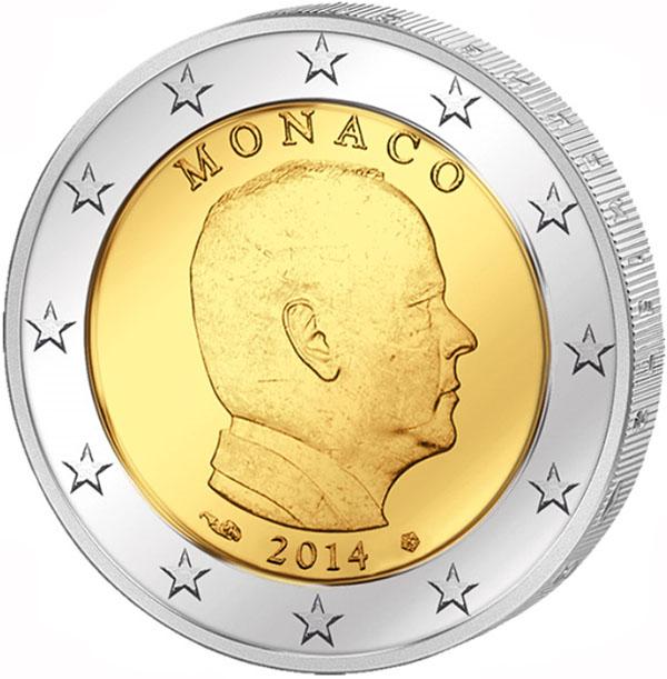 Монета номиналом 2 евро Князь Альбер II. Монако, 2014 год691503Диаметр 2,5 см. Сохранность: UNC (без обращения).
