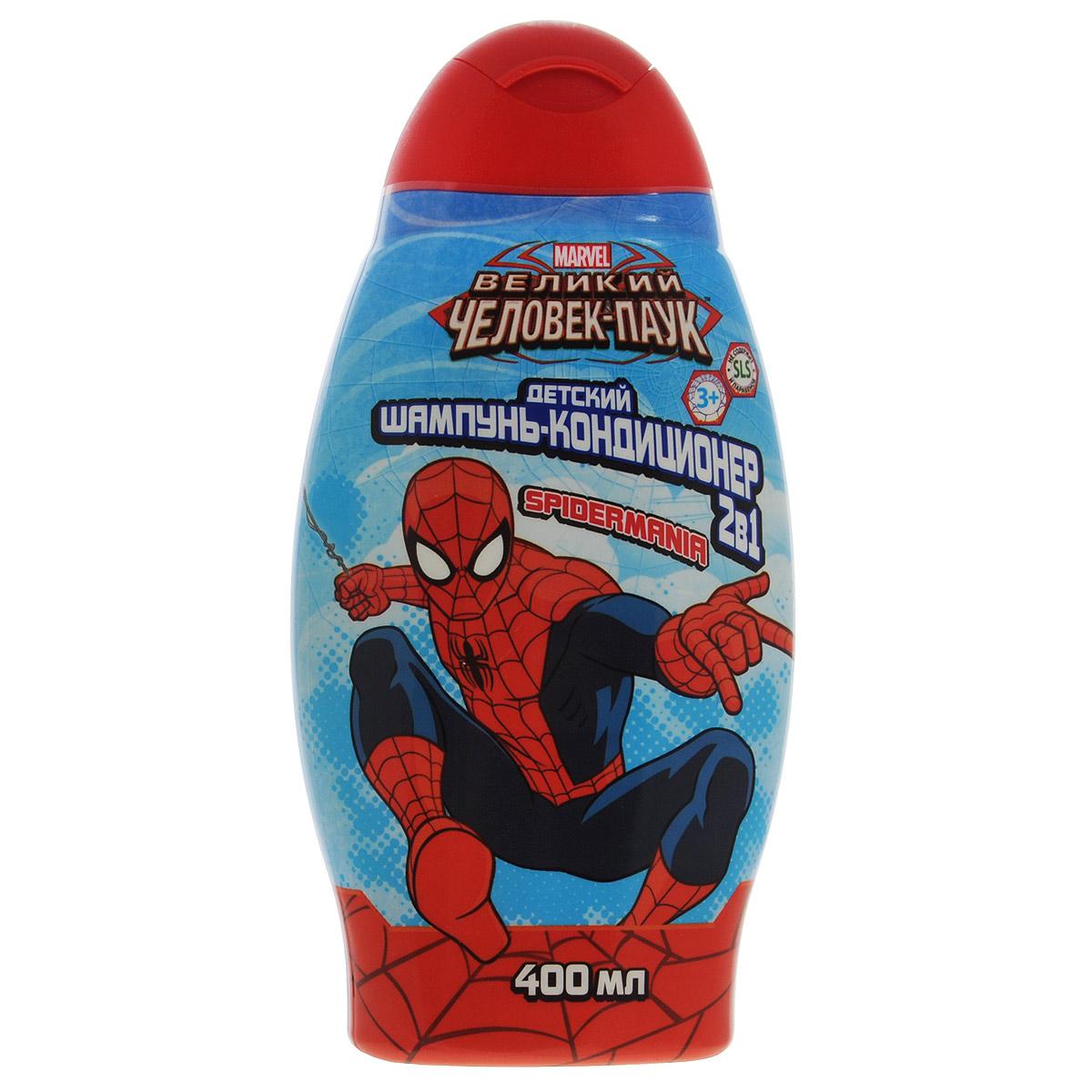 Spider-Man Шампунь с кондиционером 2в1 Spidermania, детский, 400 мл. 1328113281Натуральные компоненты и растительные экстракты, входящие в состав шампуня-кондиционера 2в1 Spidermania, обеспечат бережный уход и позаботятся о красоте и здоровье волос. Мягкая текстура и приятный аромат шампуня подарят отличное настроение и заряд энергии на весь день! Такой шампунь понравится вашему маленькому супергерою и превратит купание в веселое приключение! Товар сертифицирован.