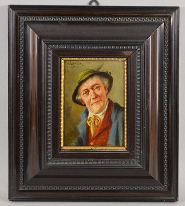 Картина Баварец с желтым галстуком. Масло, дерево. Германия, около 1915 годаАККААКартина Баварец с желтым галстуком. Масло, дерево. Германия, около 1915 года. Картина заключена в раму. Размер рамы 31 х 35,5 см. Размер окна 11 х 15,5 см. Сохранность очень хорошая. Подпись в левом верхнем углу подпись художника от руки H. Olvi(u)(?)ng / Munchen. Мюнхенская школа. На картине изображен баварец в традиционной шляпе с пером и желтом галстуке, завязанном бантом. Атмосфера картины проникнута уютом и теплом. Старинная картина - это особенное украшение интерьера и прекрасным подарок коллекционеру и ценителю живописи!