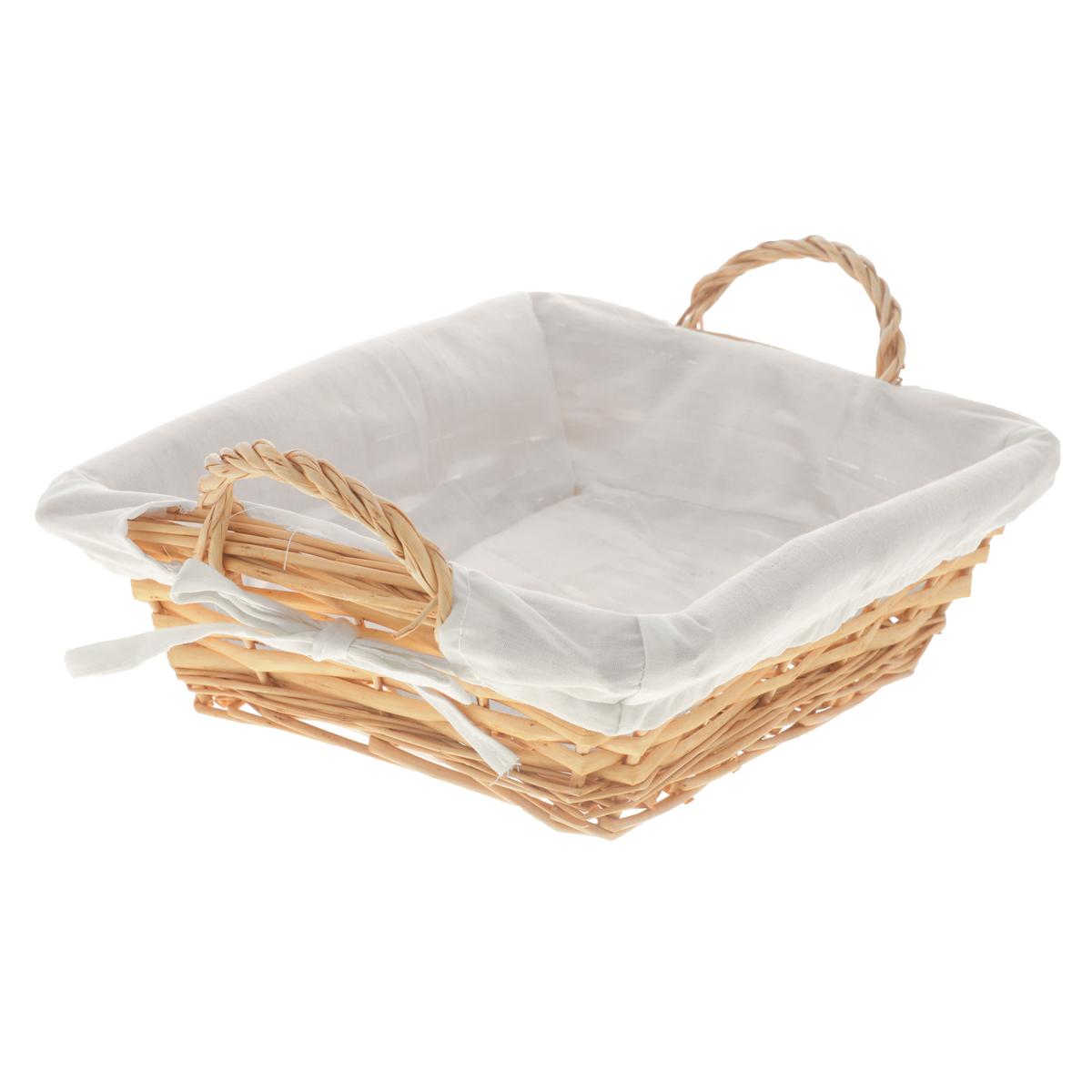 Корзина Kesper, 25 х 22 х 8 см1790-1Прямоугольная корзина Kesper изготовлена из натурального плетеного волокна и декорирована текстилем. Она предназначена для хранения хлеба, а также мелочей дома или на даче. Позволяет хранить мелкие вещи, исключая возможность их потери. Изделие оснащено удобными ручками. Корзина очень вместительная. Элегантный выдержанный дизайн позволяет органично вписаться в ваш интерьер и стать его элементом. Материал: натуральное волокно, текстиль. Размер корзины по верхнему краю (без учета ручек): 25 см х 22 см. Размер корзины по верхнему краю (с учетом ручек): 29 см х 22 см. Высота корзины (без учета ручек): 8 см.