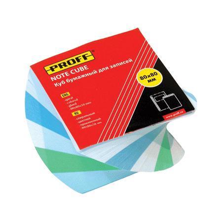 Куб бумажный для записей 80*80*50 цветной, клеенный, в термоплёнке, спиральный ProffМ103цв PF