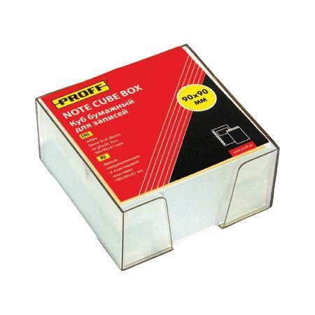 """Куб бумажный для записей 90*90*45 белый, непроклеенный, в прозрачной пластиковой подставке """"Proff"""""""