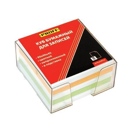 """Куб бумажный для записей 90*90*45 цветной, непроклеенный, в прозрачной пластиковой подставке """"Proff"""""""