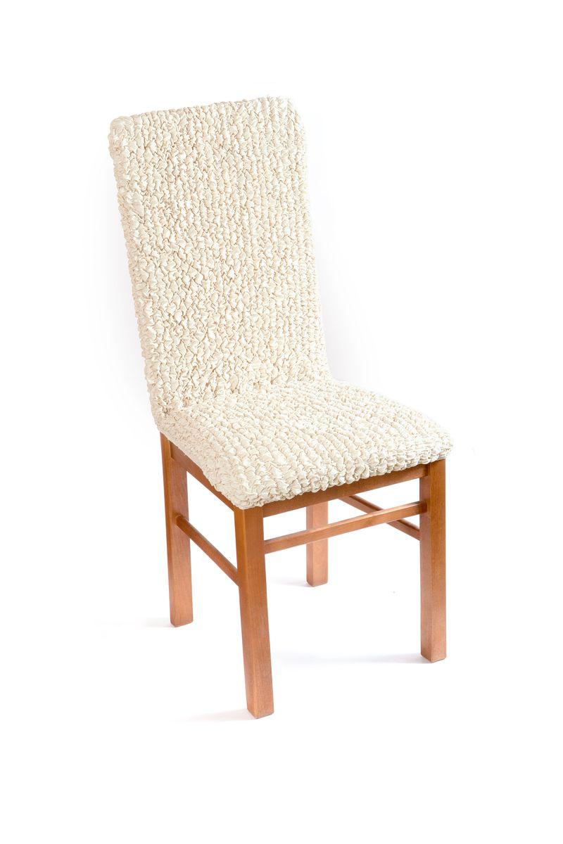 Чехол на стул Еврочехол Модерн, цвет: ванильный, 40-60 см3/22-11Чехол на стул Еврочехол Модерн выполнен из 60% хлопка, 35% полиэстера и 5% эластана. Натуральный хлопок в составе мягкой, приятной на ощупь ткани делает ее крепкой и практичной в эксплуатации, позволяя идеально облегать мебель и долго сохранять первоначальную форму. Красивая фактура ткани выгодно смягчит геометрию стула, а актуальный цвет чехла сделает его эффектной деталью как классического, так и современного интерьера, привнося в атмосферу помещения свежие легкие ноты. Еврочехол имеет цельную конструкцию, благодаря которой он полностью облегает спинку и сиденье. Излишки ткани (это важно и для фиксации чехла на стуле) легко убираются в расстояние между спинкой и сиденьем. Чехол защитит ваш стул от ежедневных воздействий и облагородит его внешний вид. Растяжимость чехла по спинке: 40-60 см.